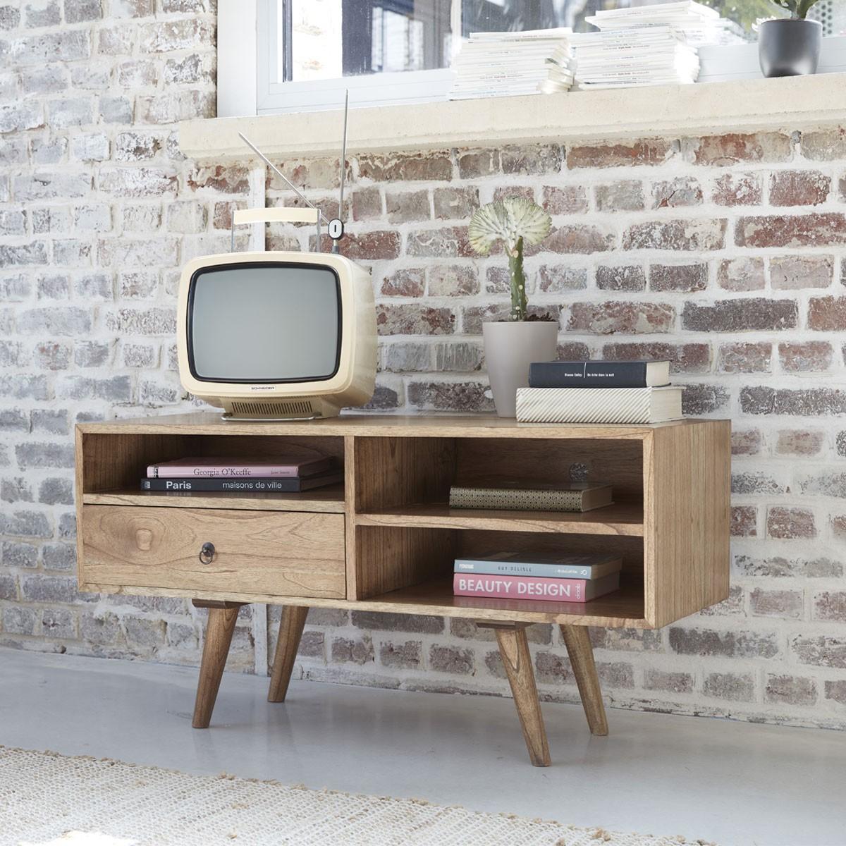 Meuble TV scandinave 1 tiroir et 3 niches en mindy