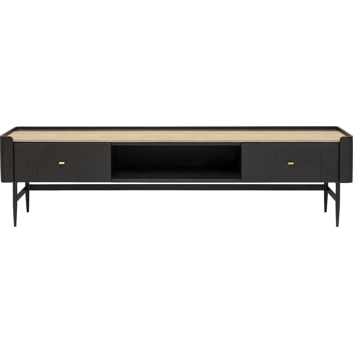 Meuble TV 2 tiroirs en peuplier et chêne brun