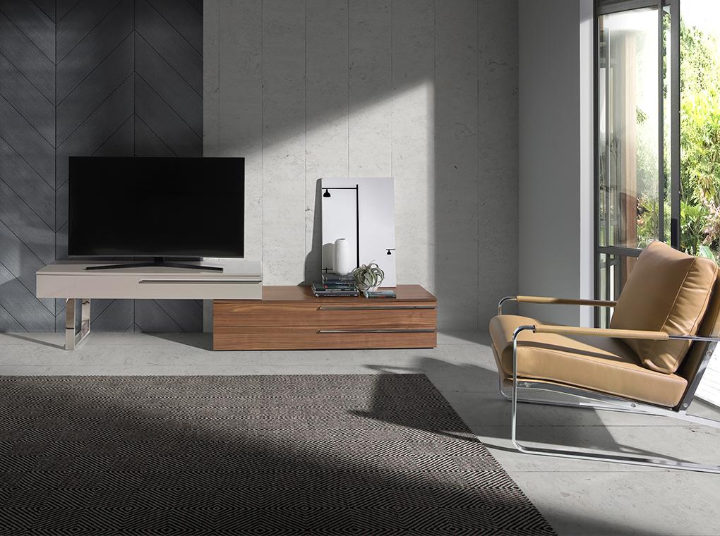 Meuble TV modulable 2 tiroirs plaqués noyer et 1 tiroir laqué blanc