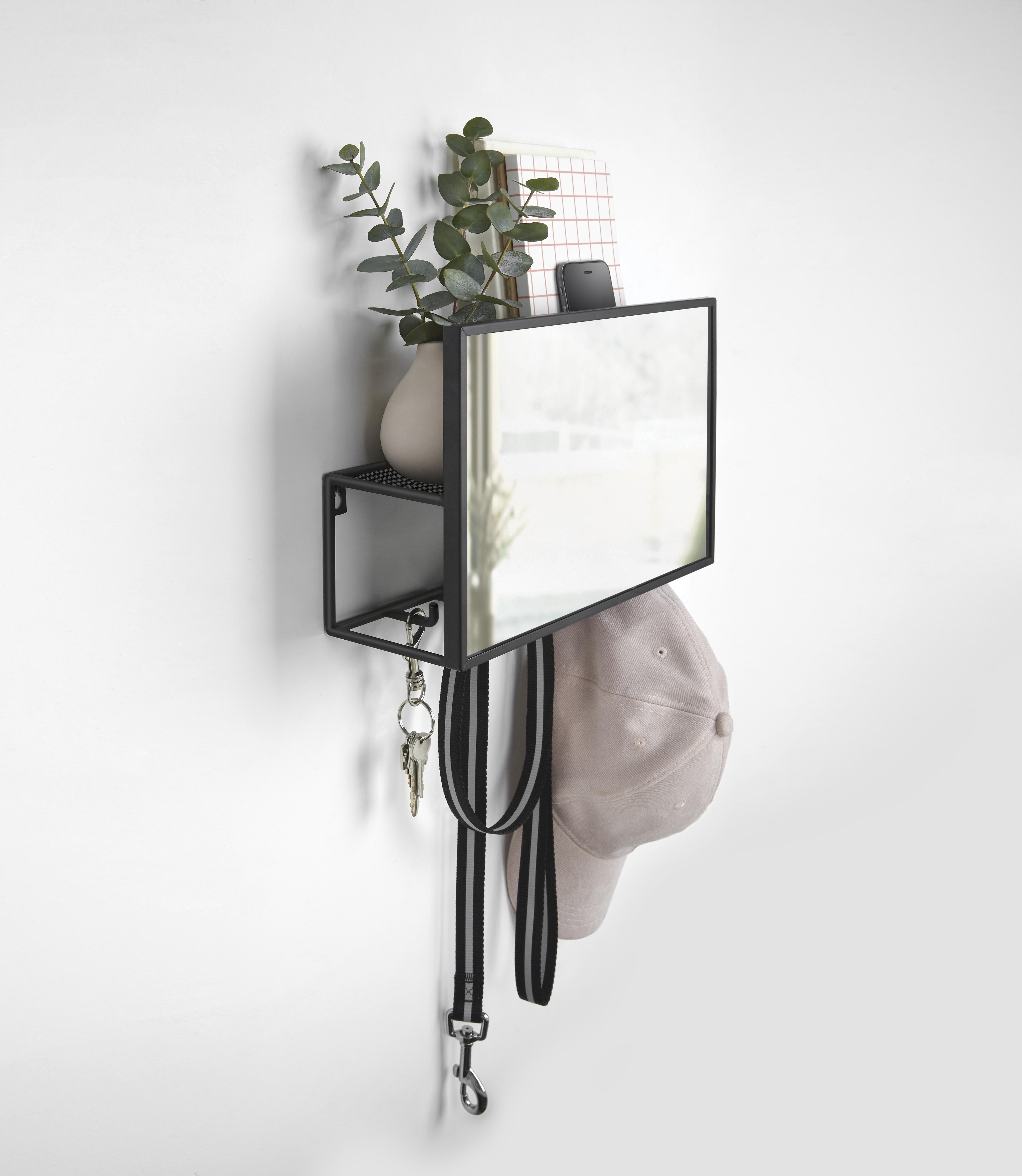 Miroir et rangement mural, métal noir (photo)
