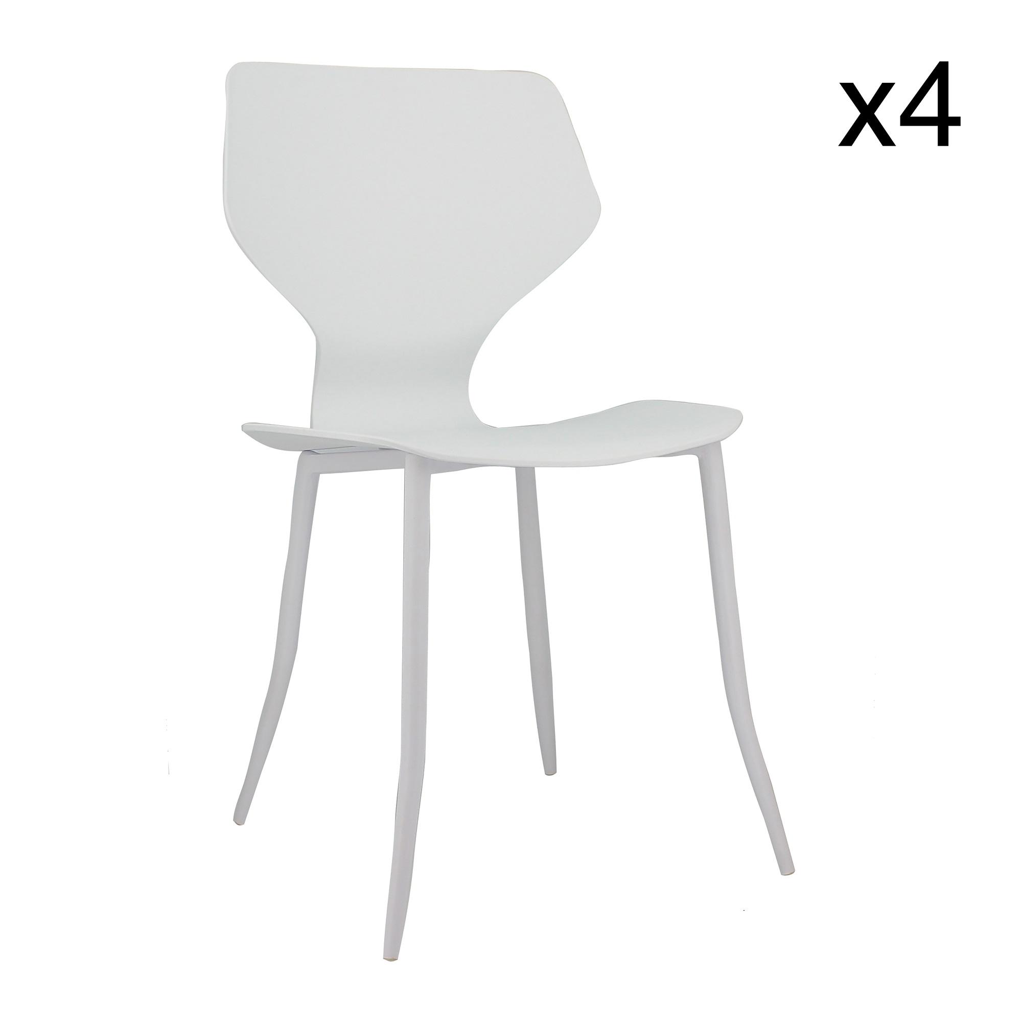 Lot de 4 chaises blanc mat
