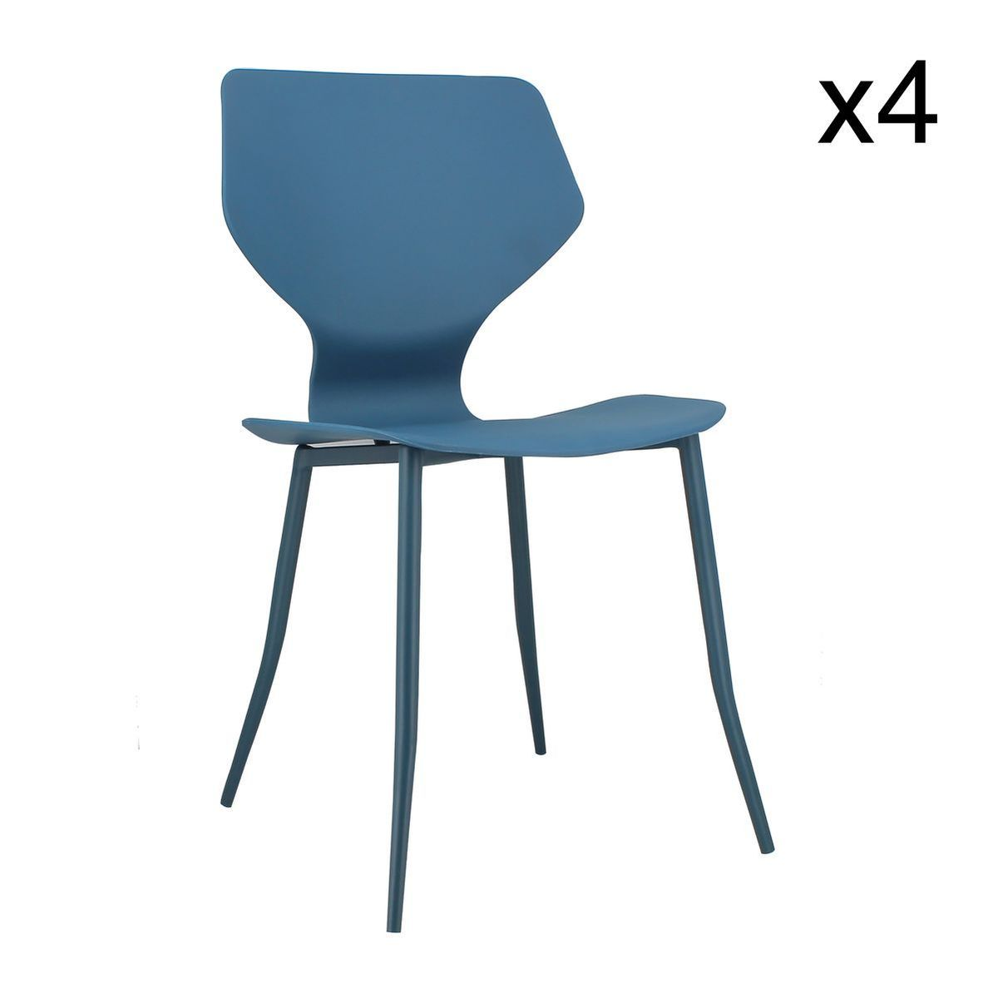 Lot de 4 chaises bleu cobalt