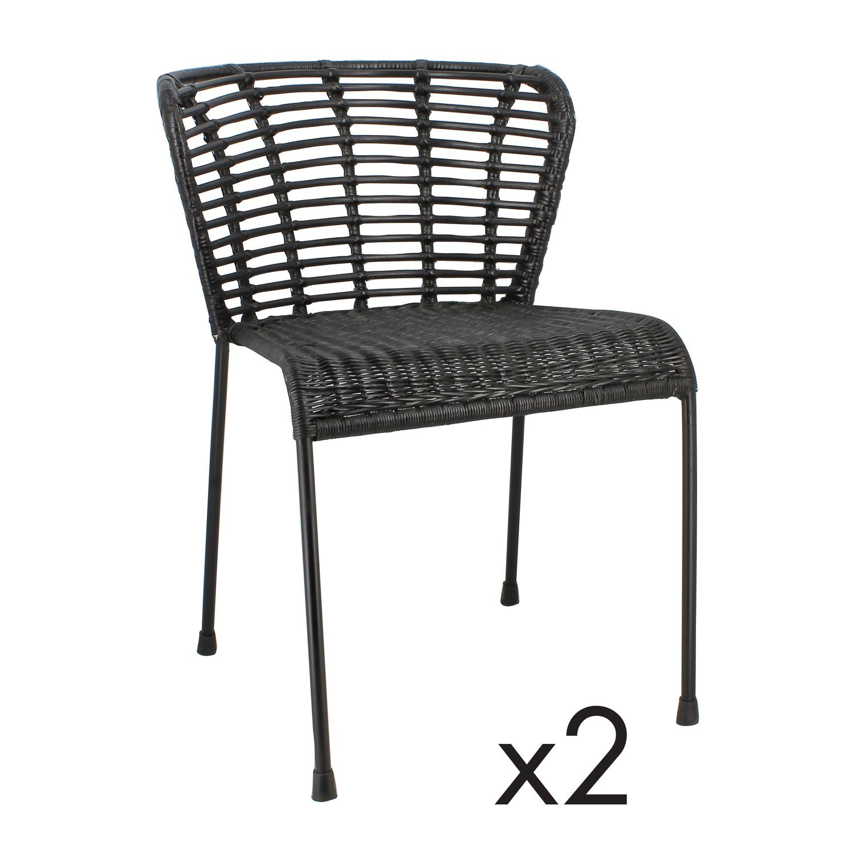 Lot de deux chaises en rotin noires