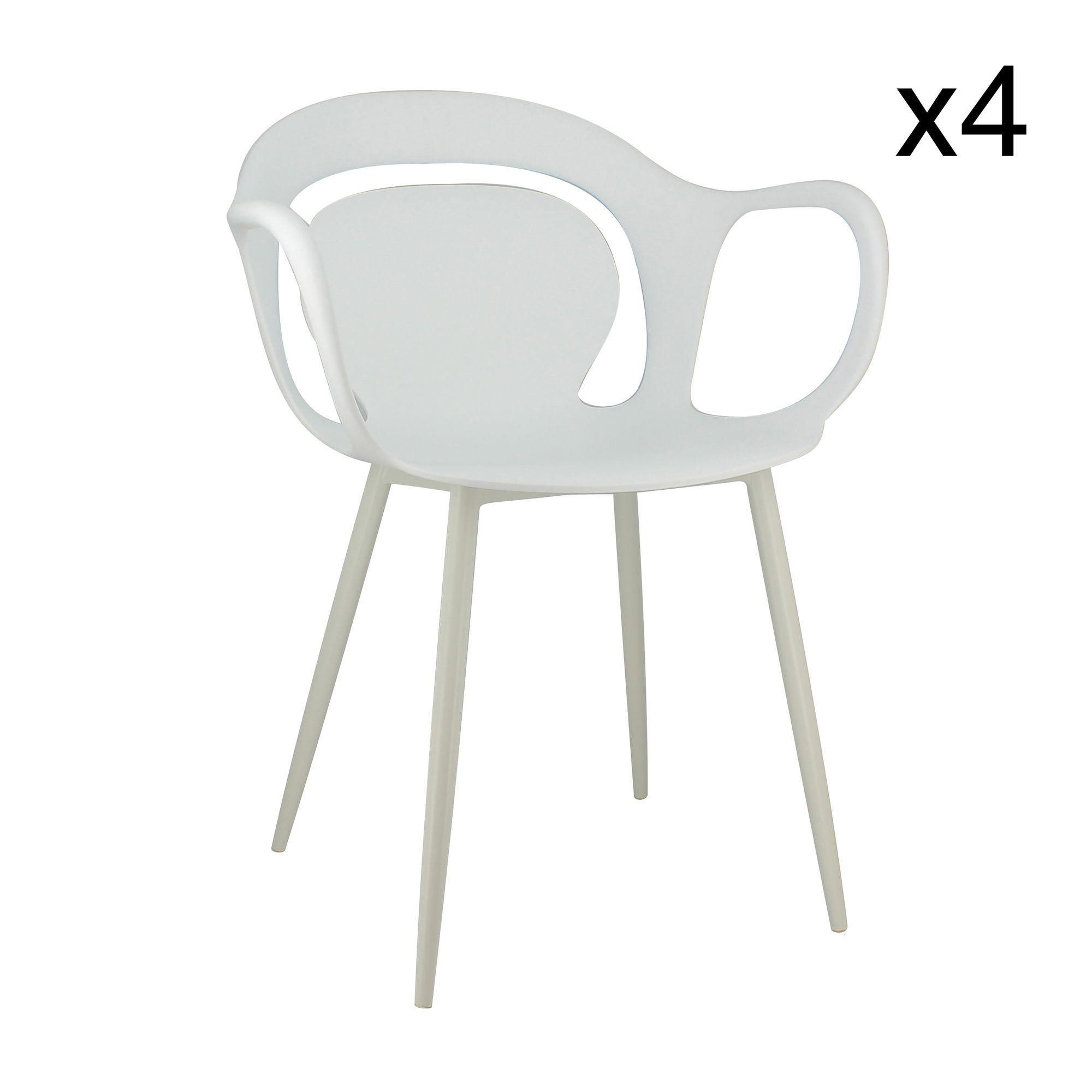 Lot de 4 fauteuils de table blanc mat