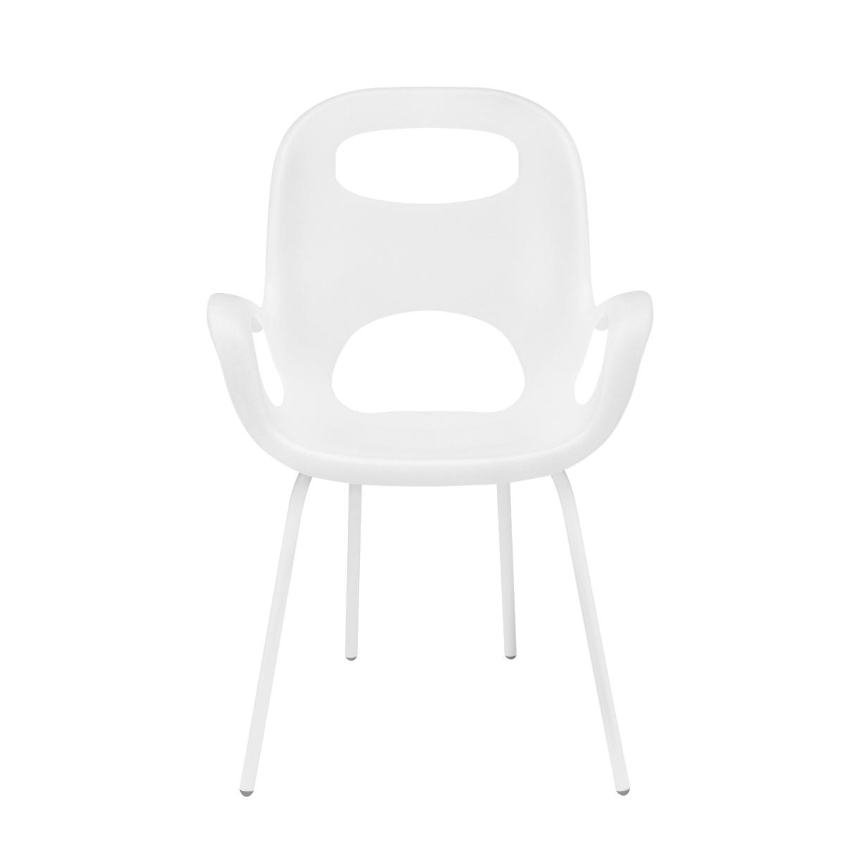 Chaise avec accoudoirs, coloris blanc