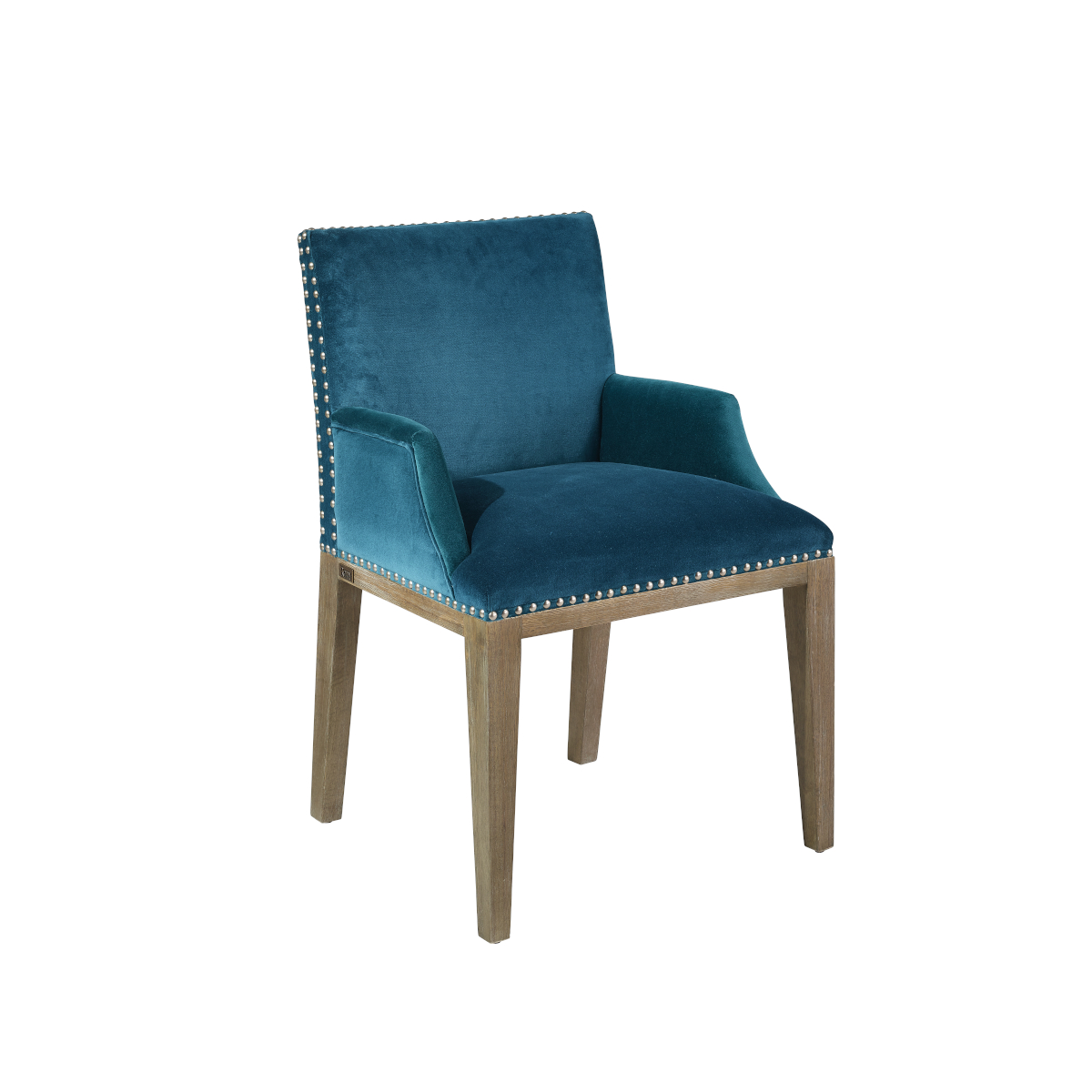 Fauteuil de table en velours bleu canard