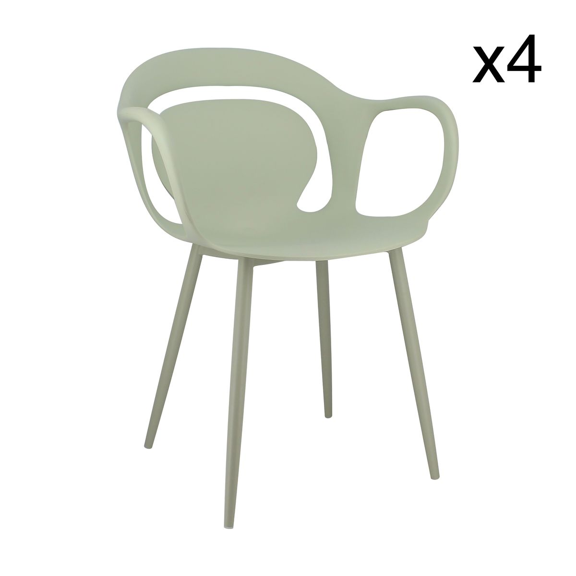 Lot de 4 fauteuils de table vert tilleul