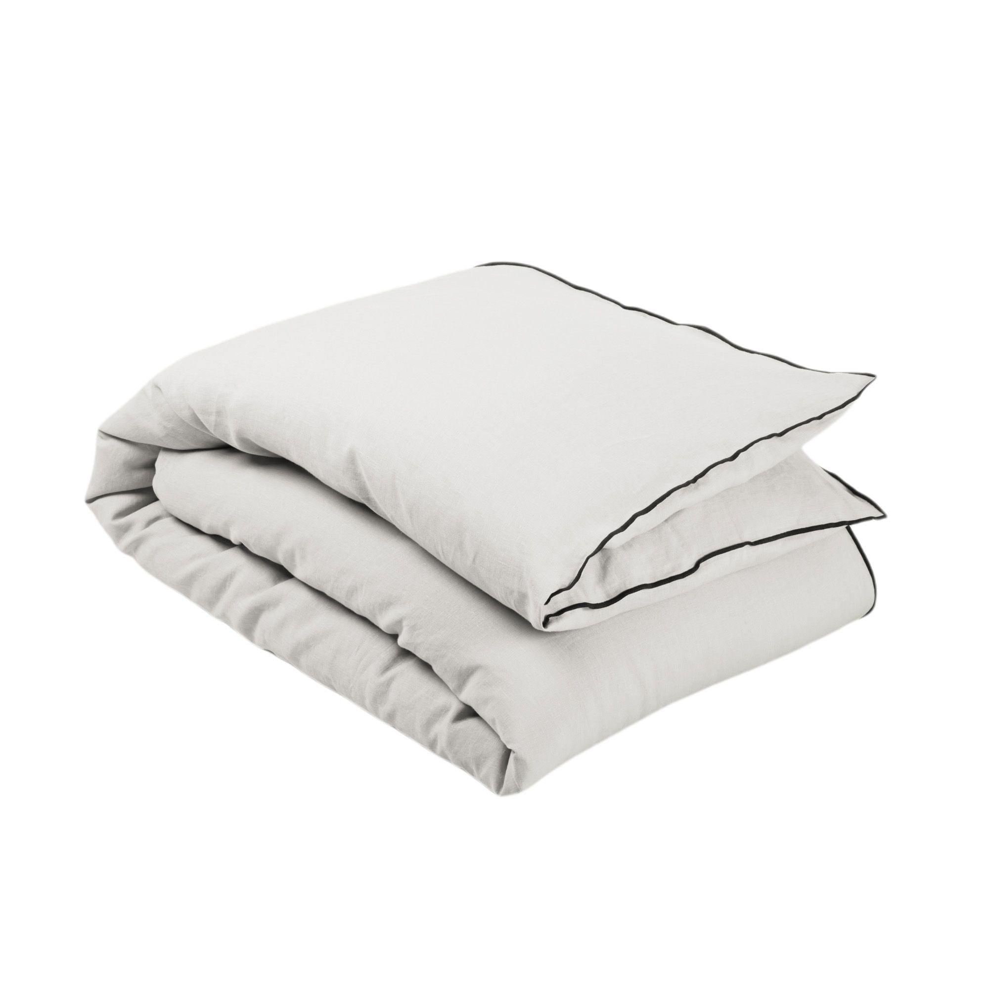 Housse de bout de lit 90x200 cm Beige clair et bourdon noir en Lin