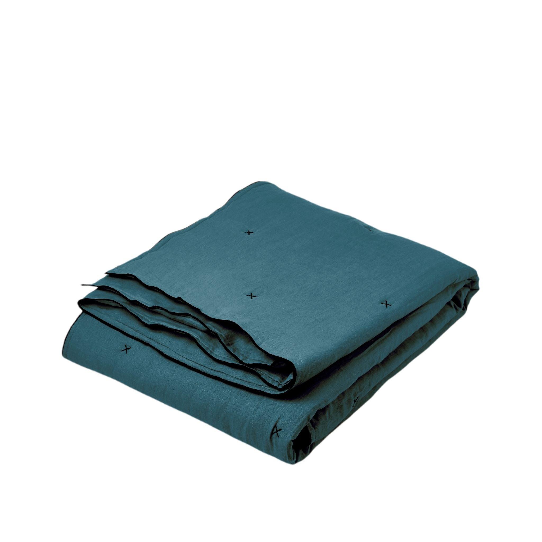 Couvre-lit matelassé 225x280 cm Bleu vert et bourdon noir en Lin