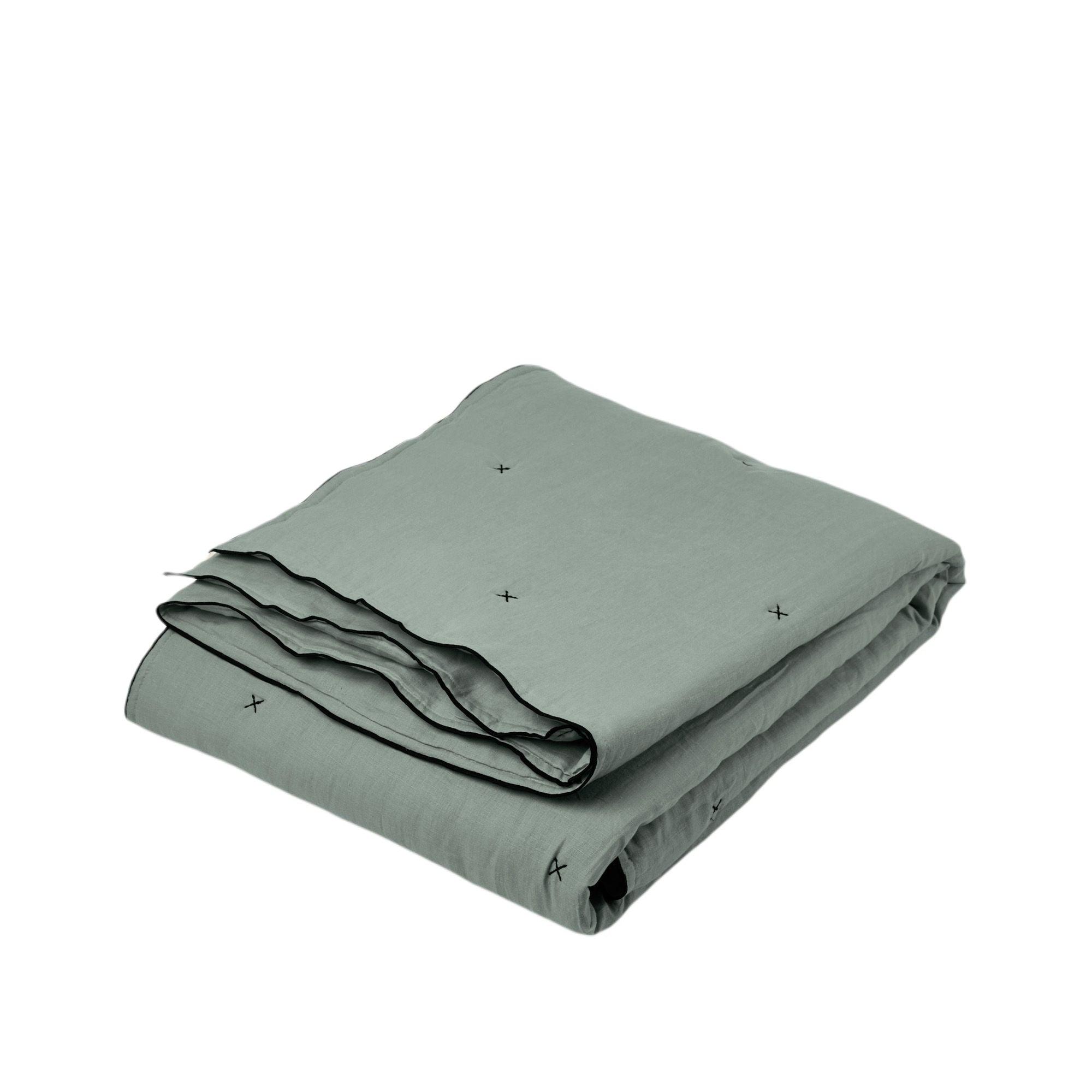 Couvre-lit matelassé 225x280 cm Vert et bourdon noir en Lin CARLINA