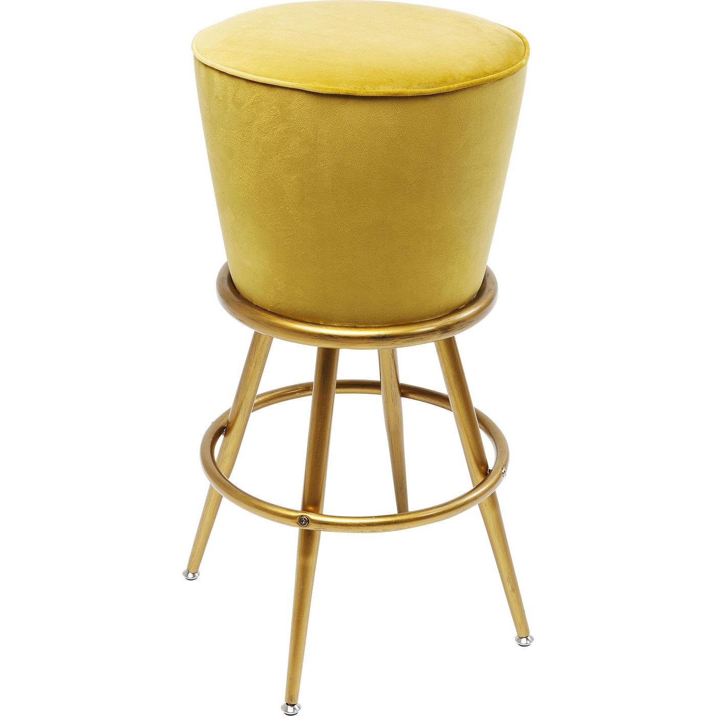 Tabouret de bar velours jaune et acier doré