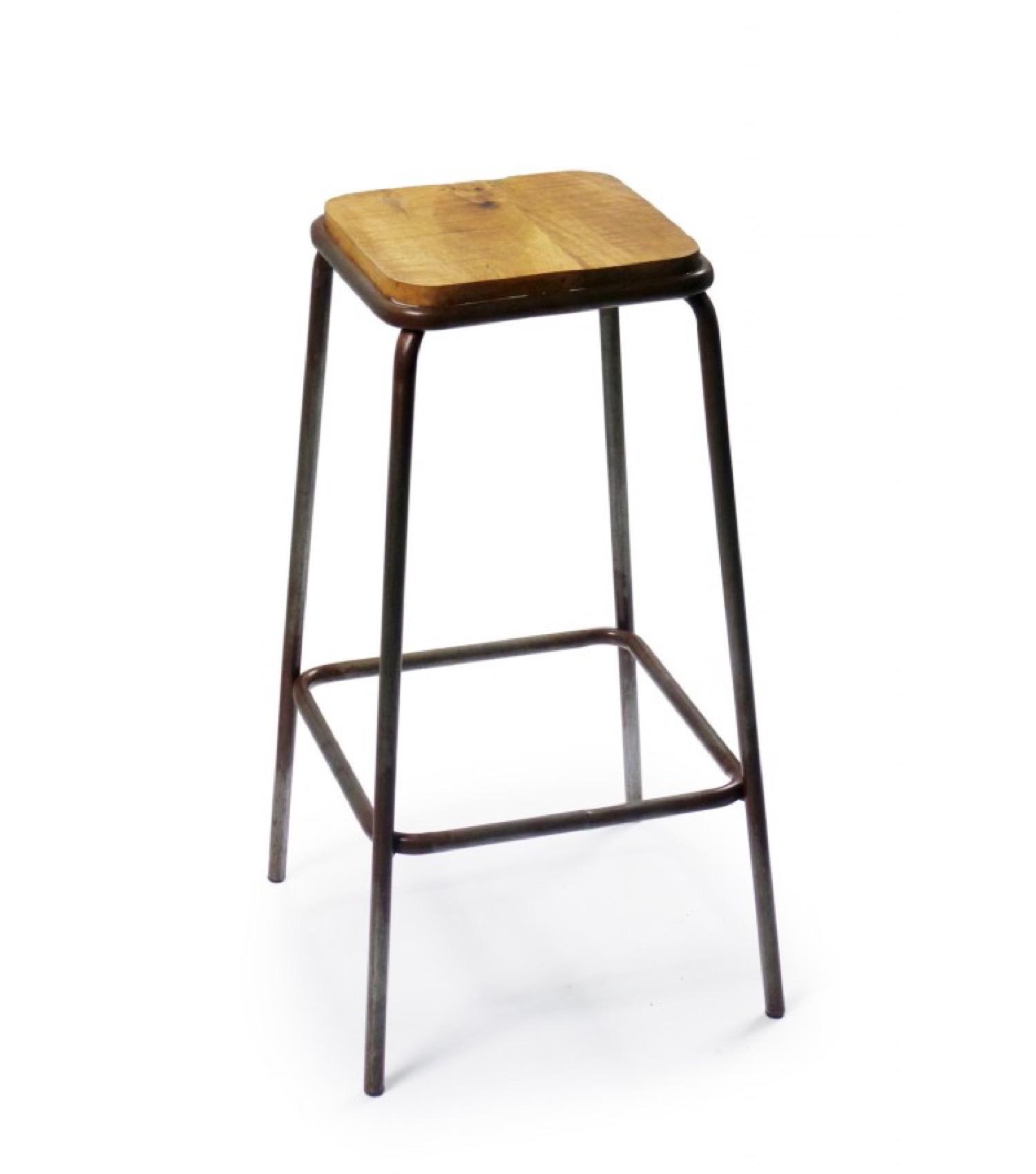 Tabouret de bar carré en métal et bois H77
