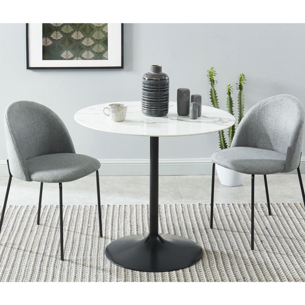 Table de bistrot ronde verre et métal noir blanc