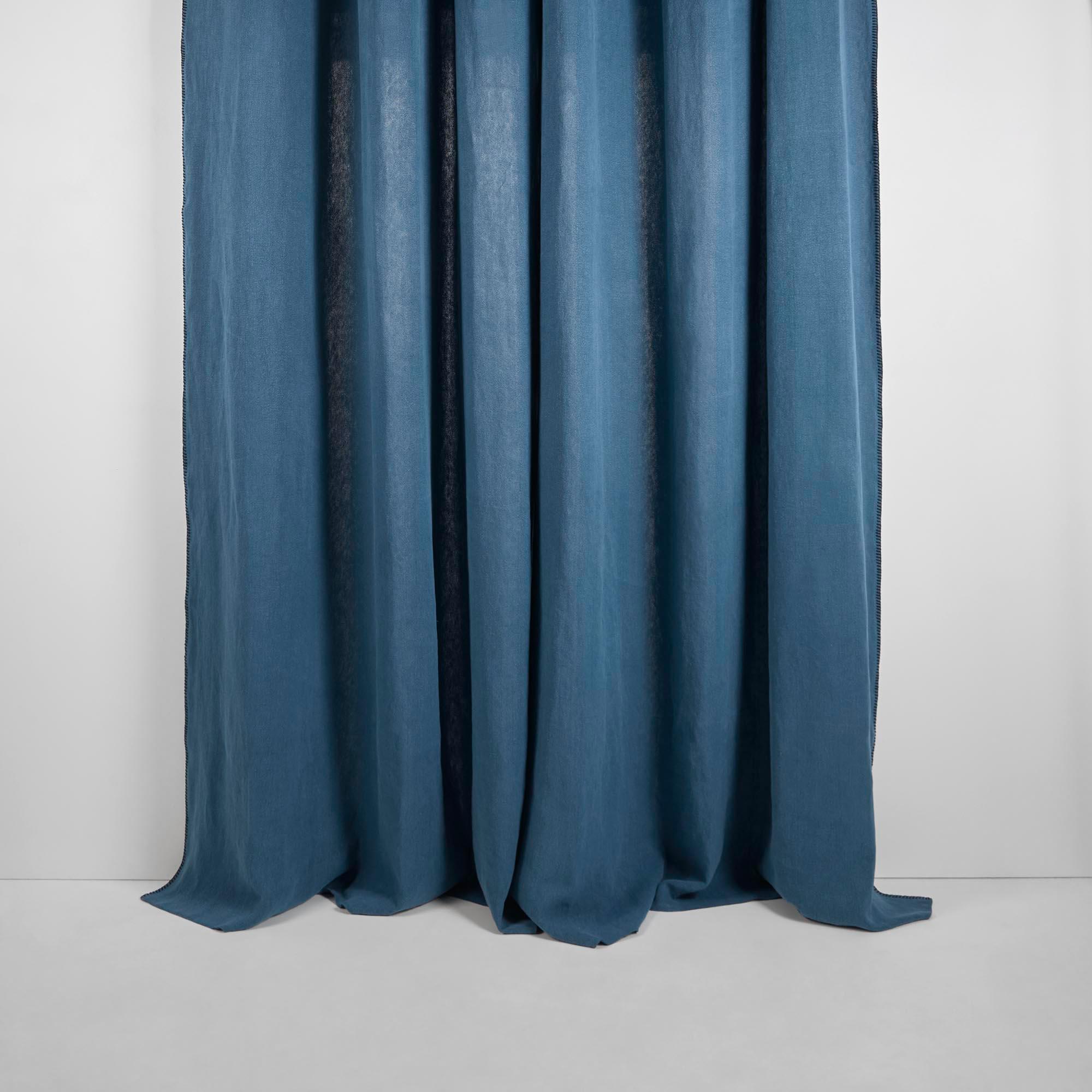 Rideau à oeillets 135x280 cm Bleu et feston en Lin