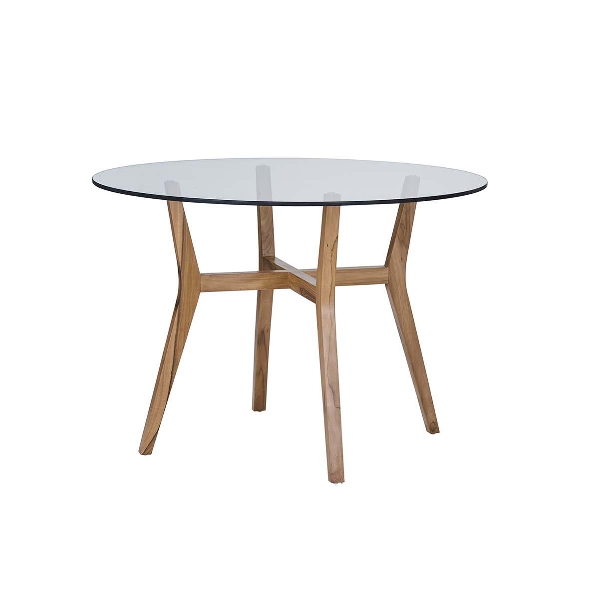Table à manger ronde vitrée en teck 4 personnes
