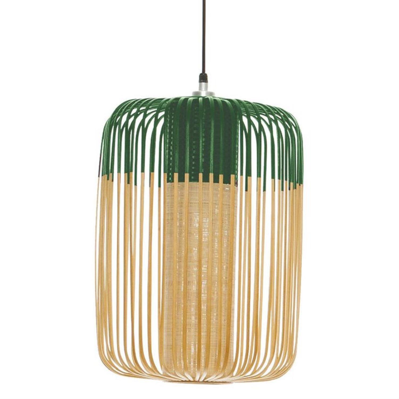 Suspension bambou vert D35cm H50cm