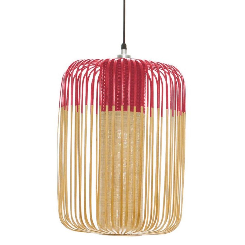 Suspension bambou rouge D35cm H50cm