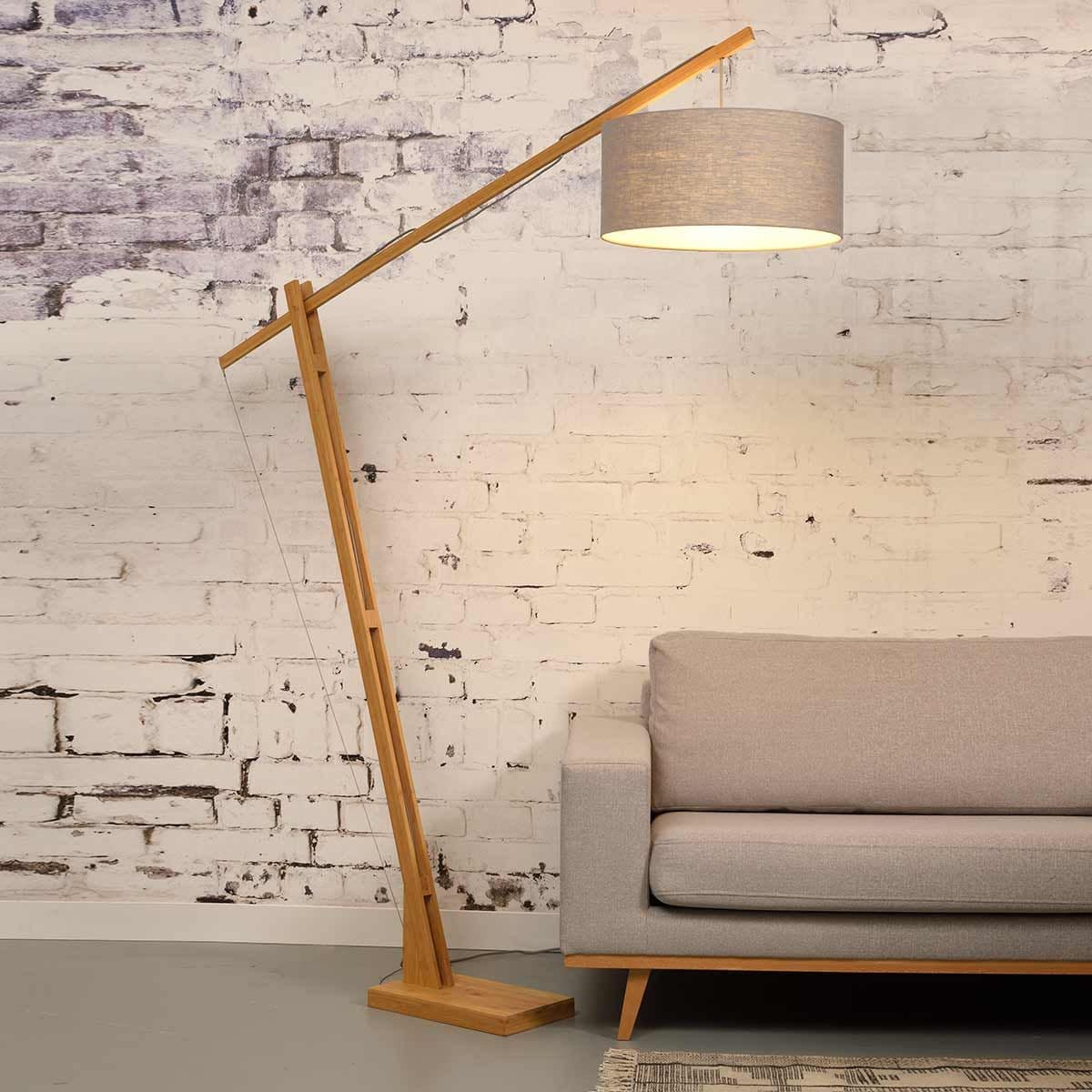Lampadaire bambou/lin gris clair H207cm