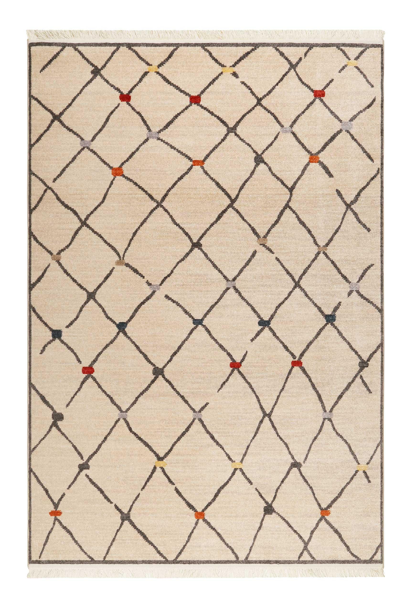 Tapis tissé ethnique chic à franges multicolore fond beige 133x200