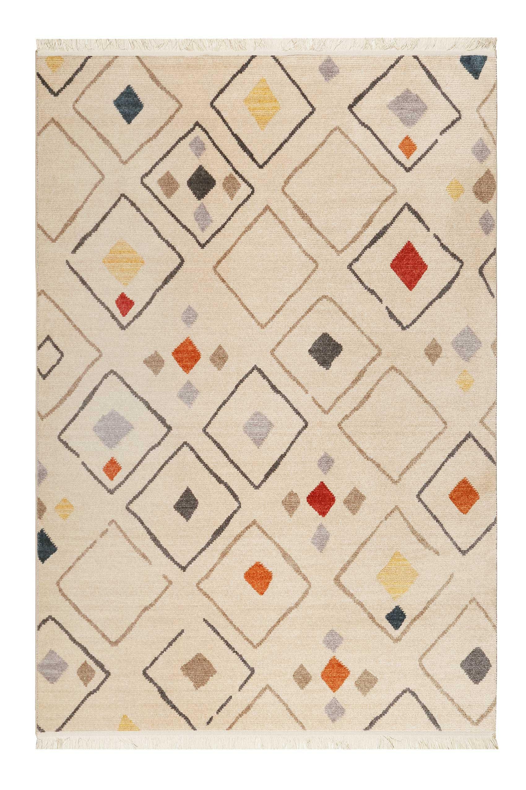 Tapis tissé ethnique chic à franges multicolore sur fond beige 133x200