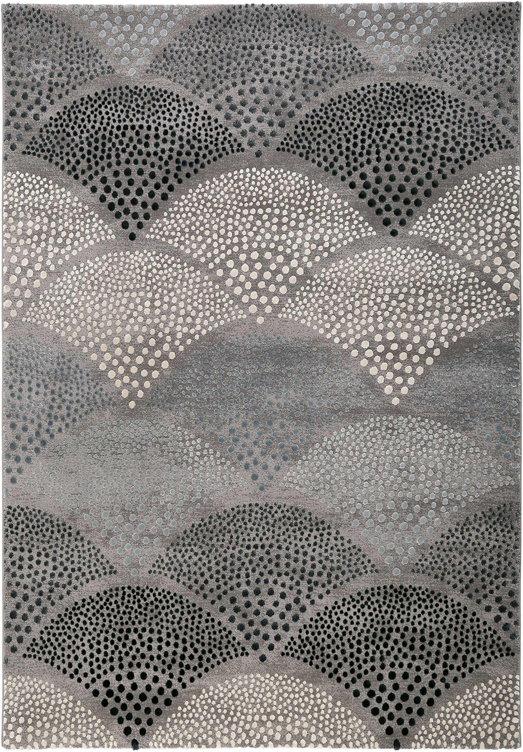 Tapis motif rétro bleu pétrole gris 290x200