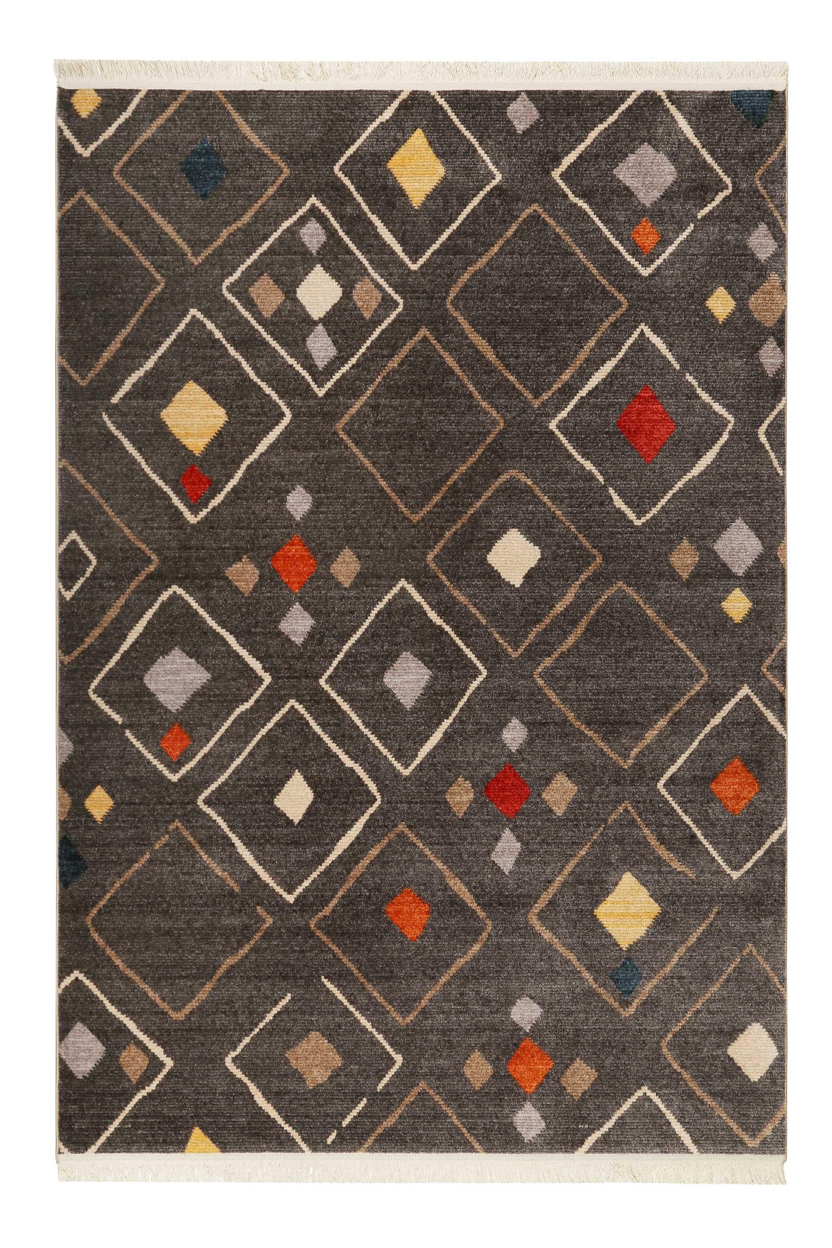 Tapis tissé ethnique chic à franges multicolore fond noir 133x200