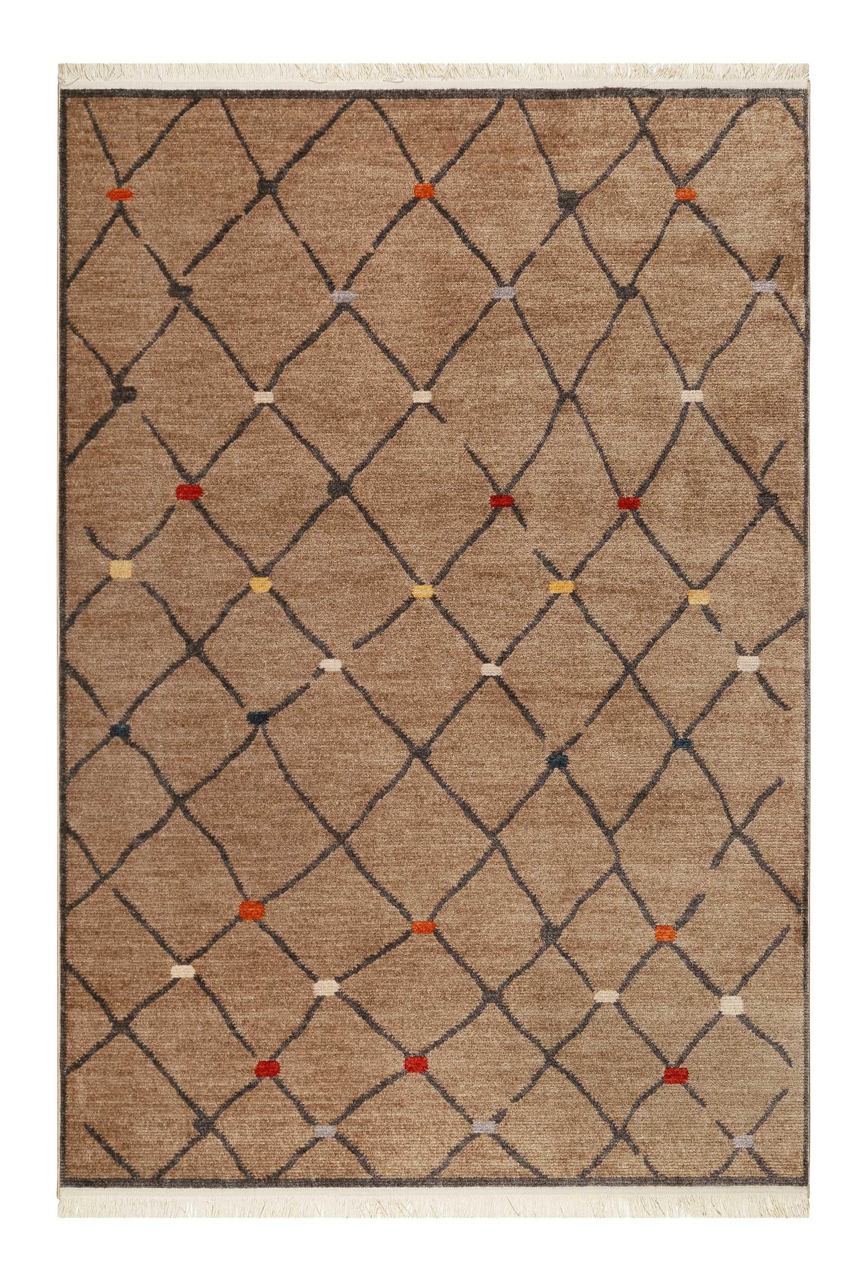 Tapis tissé ethnique chic à franges multicolore fond marron 160x225