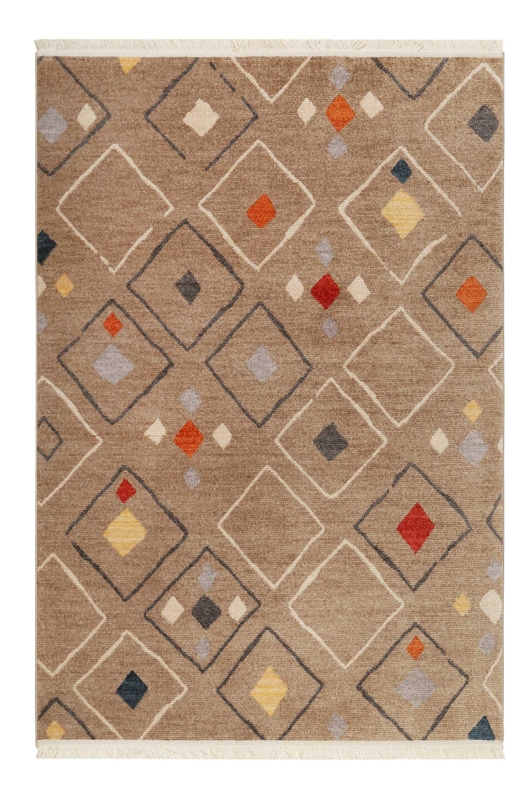 Tapis tissé ethnique chic à franges multicolore fond marron 200x290