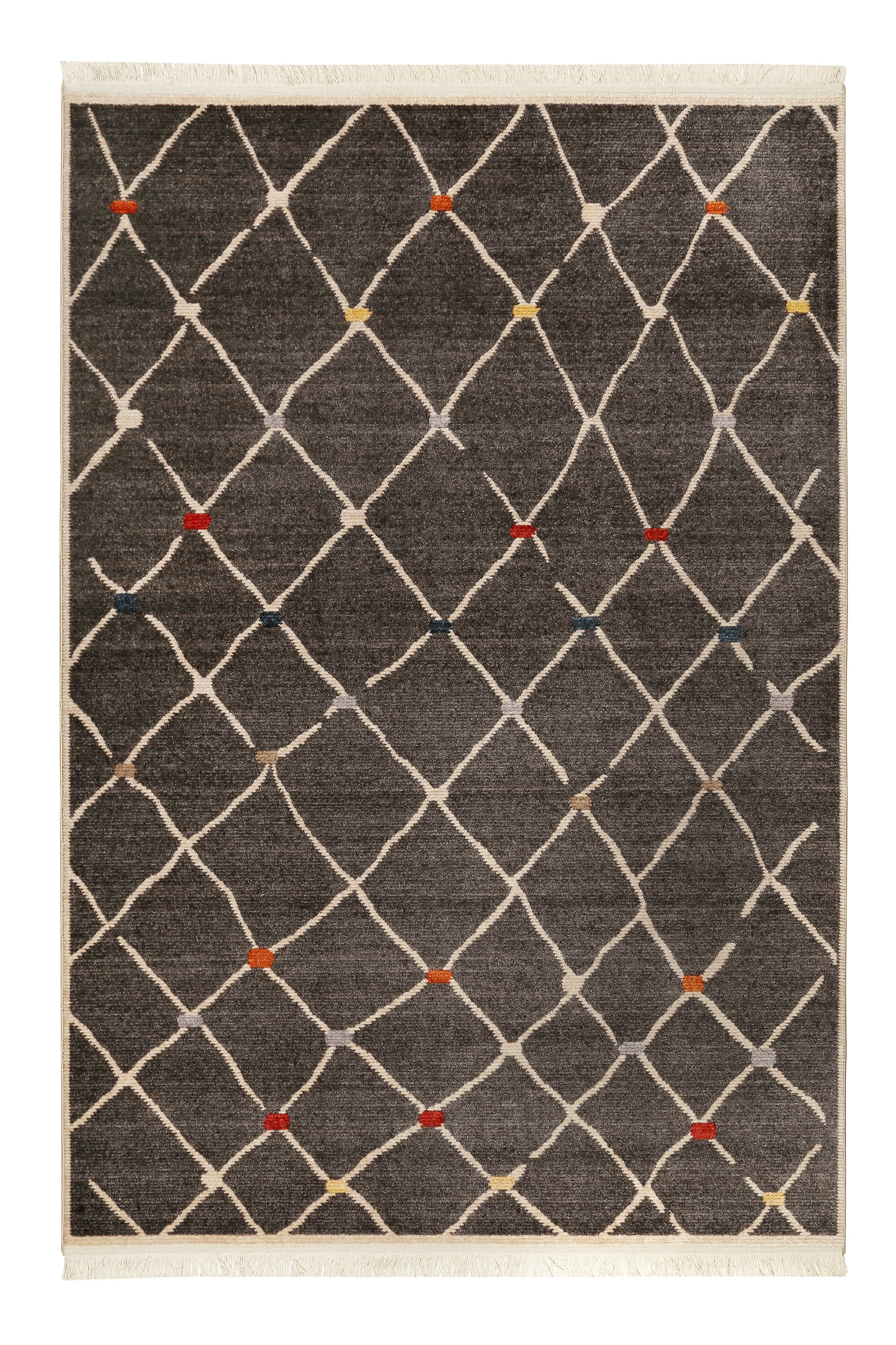 Tapis tissé ethnique chic à franges multicolore fond noir 200x290