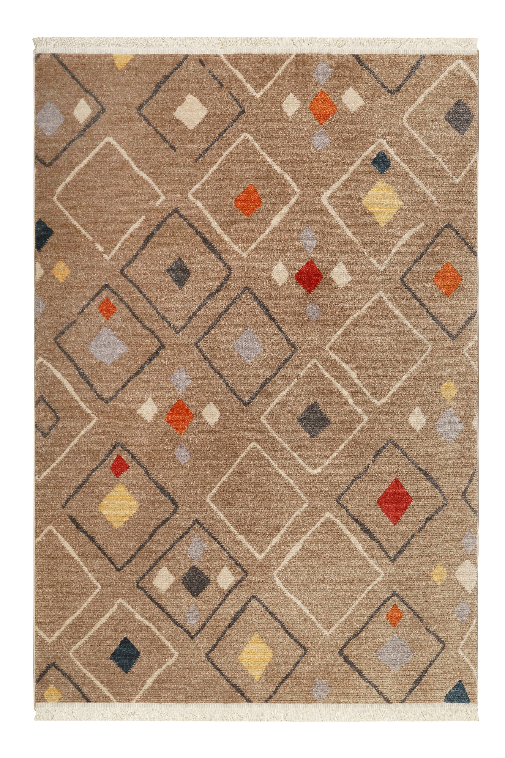 Tapis tissé ethnique chic à franges multicolore fond marron 120x170