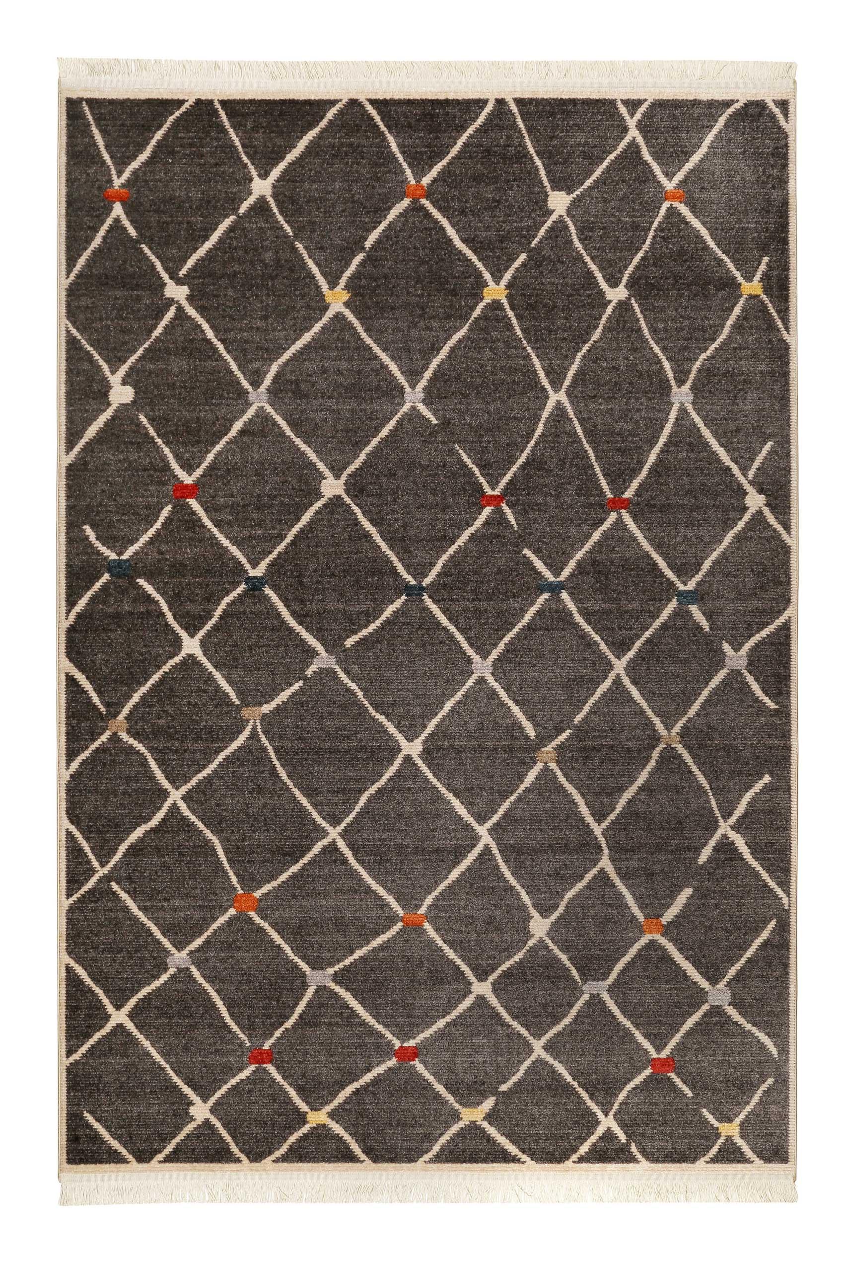 Tapis tissé ethnique chic à franges multicolore fond noir 160x225