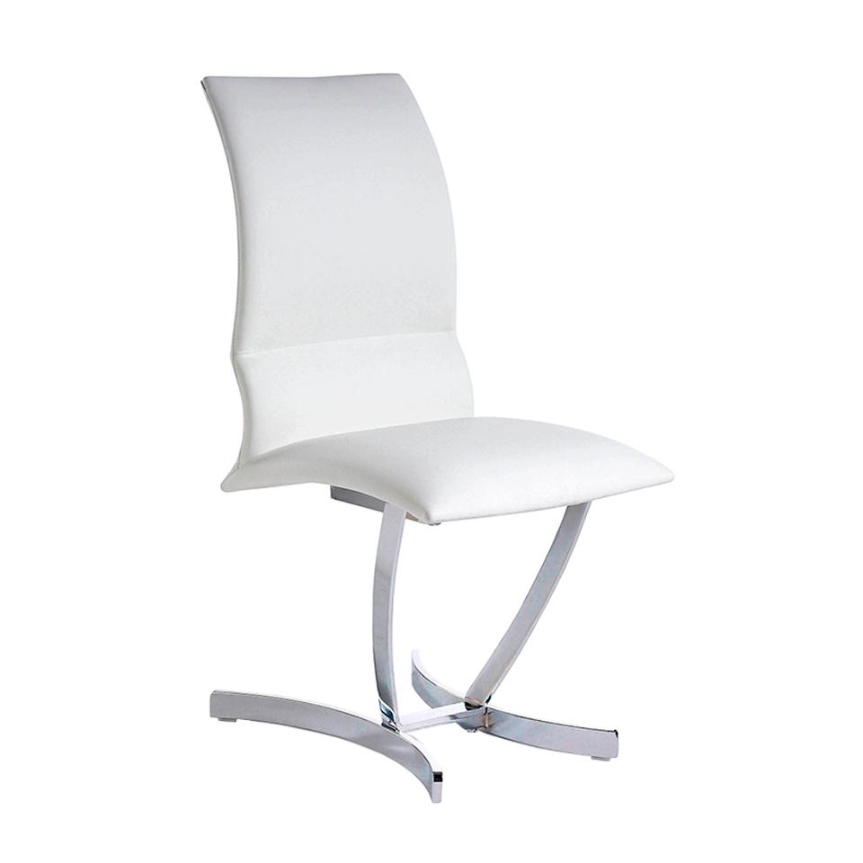 Chaise design effet cuir blanche et pieds en acier