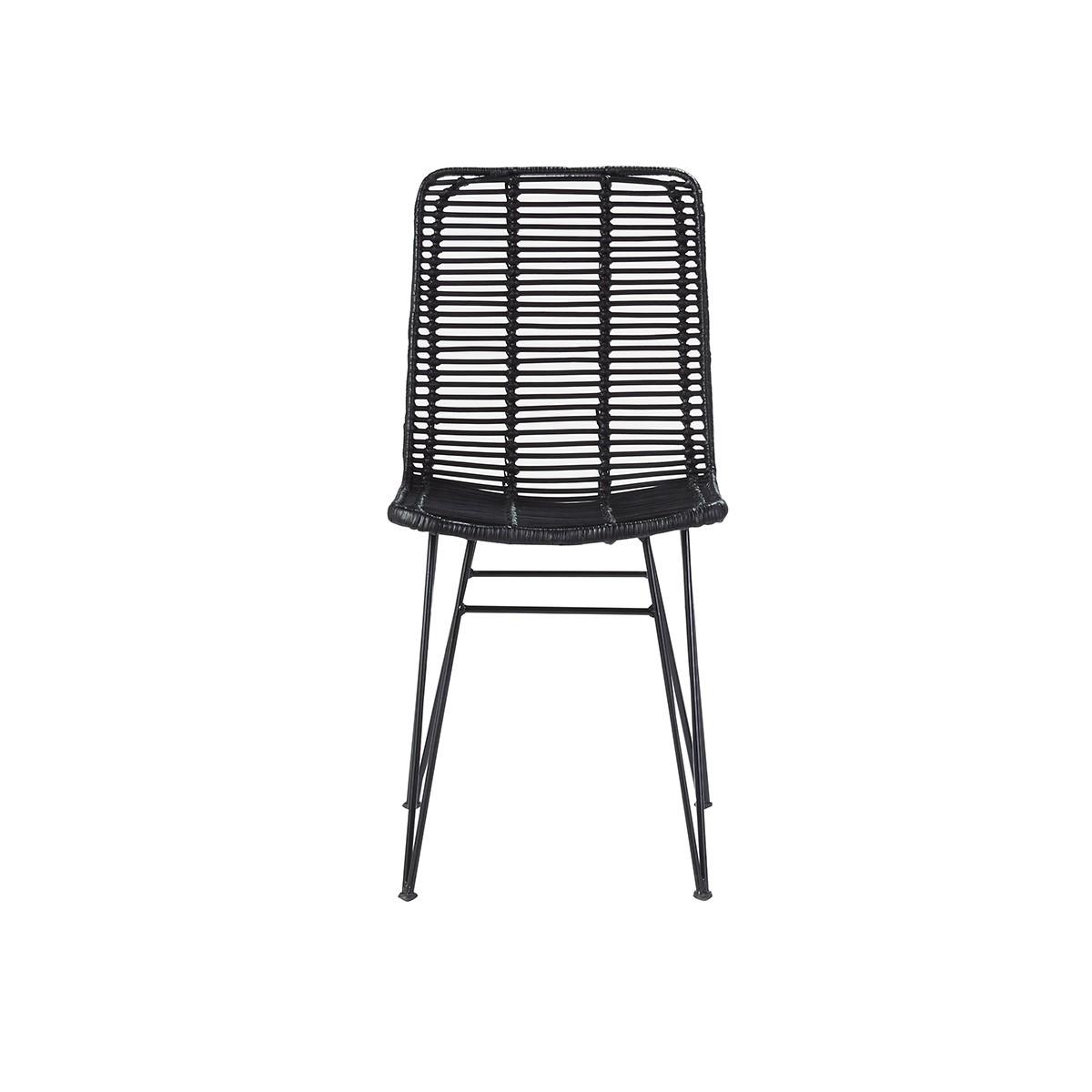 Chaise en rotin et métal noire