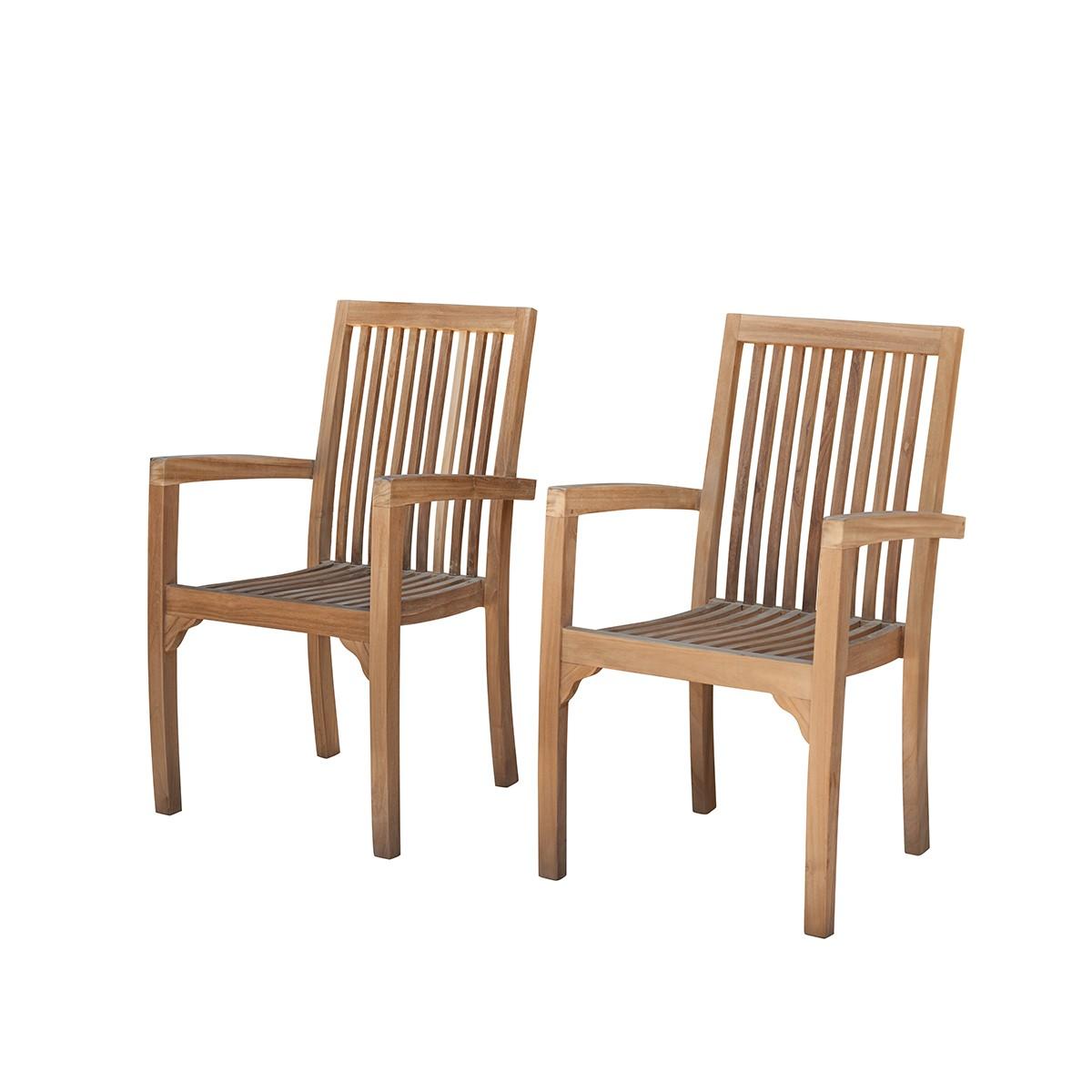2 fauteuils de jardin en teck