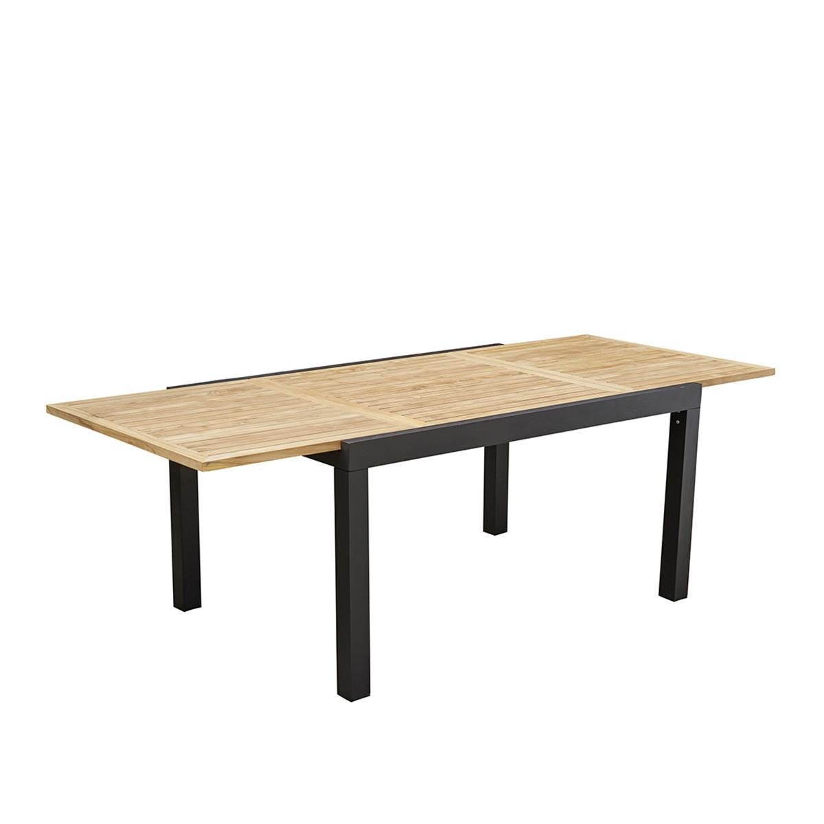 Table de jardin extensible en aluminium et teck 6/10 places