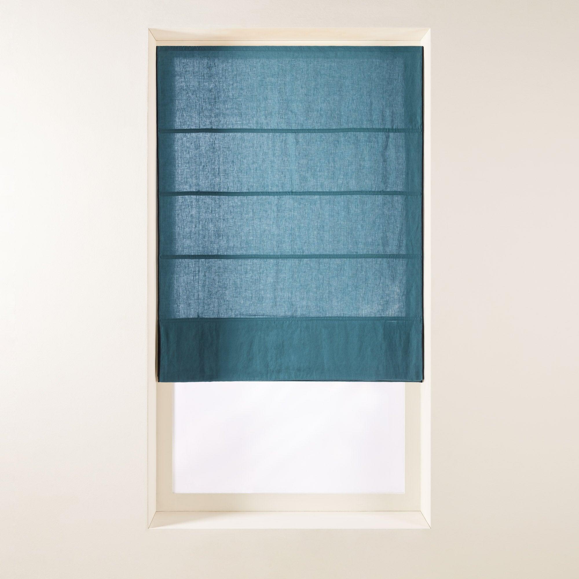 Store bateau 45x220 cm Bleu vert et bourdon noir en Lin