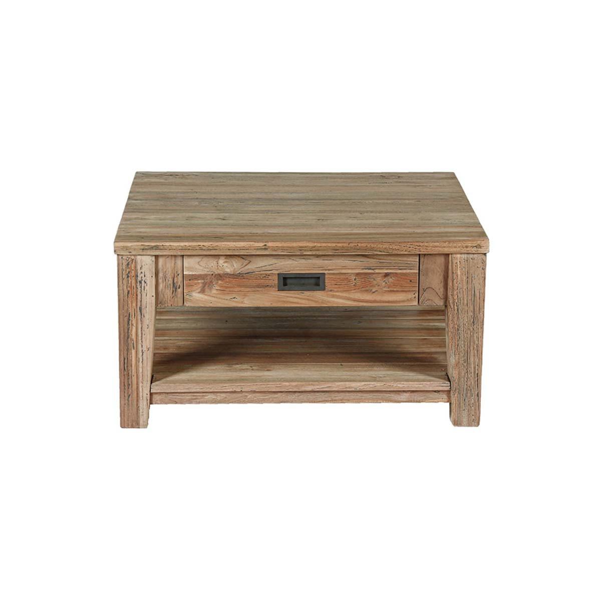 Table basse 1 tiroir en teck recyclé