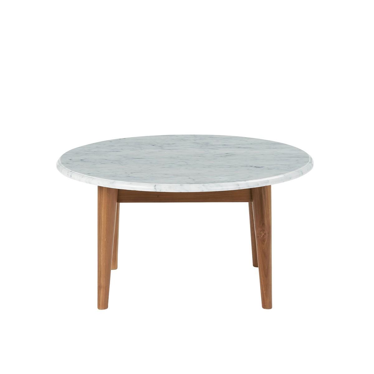 Table basse ronde en marbre et teck blanche