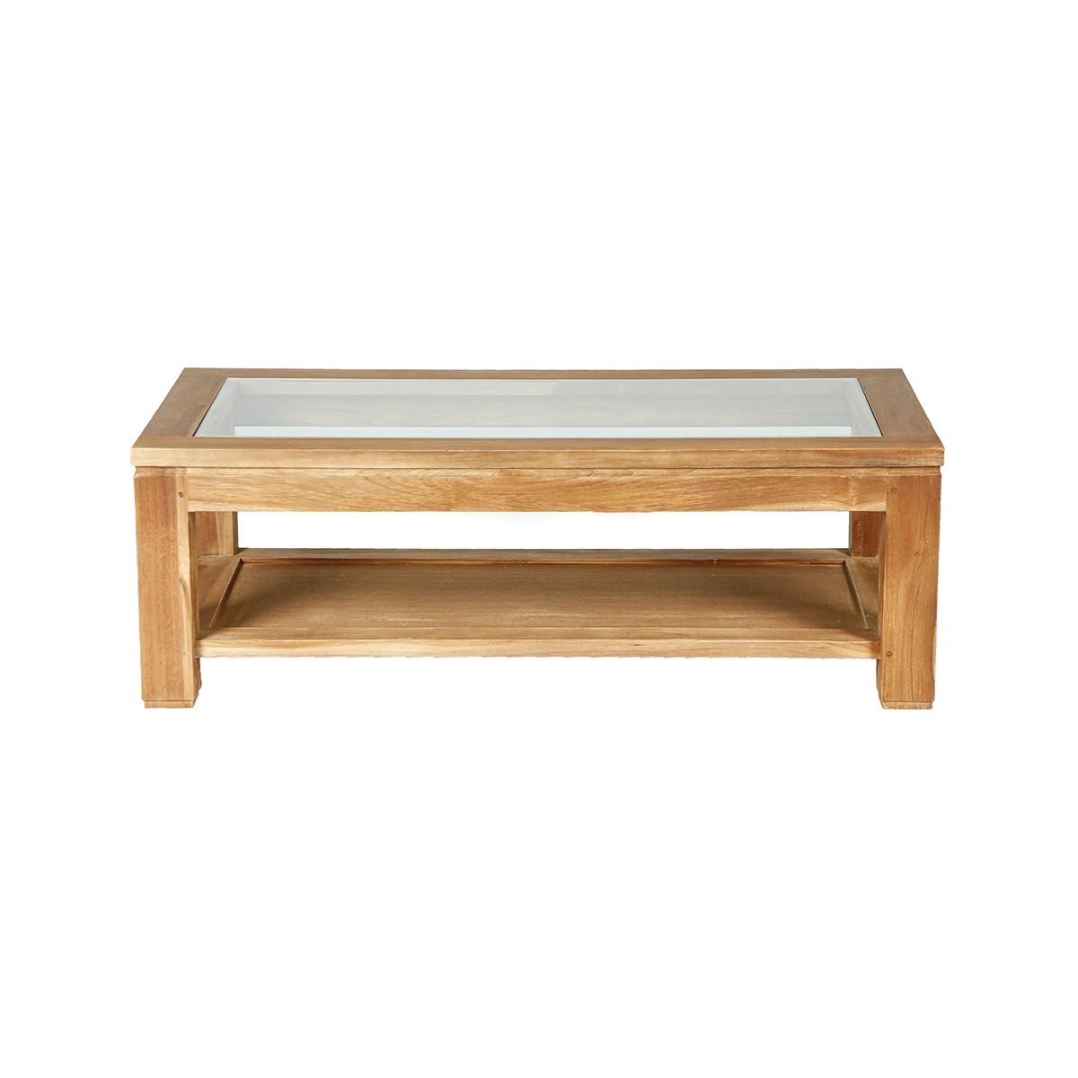 Table basse vitrée en teck