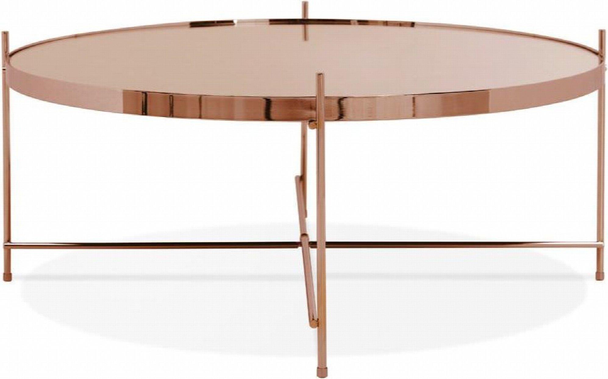 Table basse ronde plateau verre et cuivre d83cm