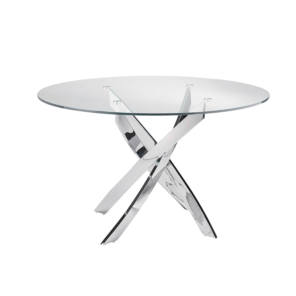 maison du monde Table à manger en verre trempé et pieds en acier inoxydable D120