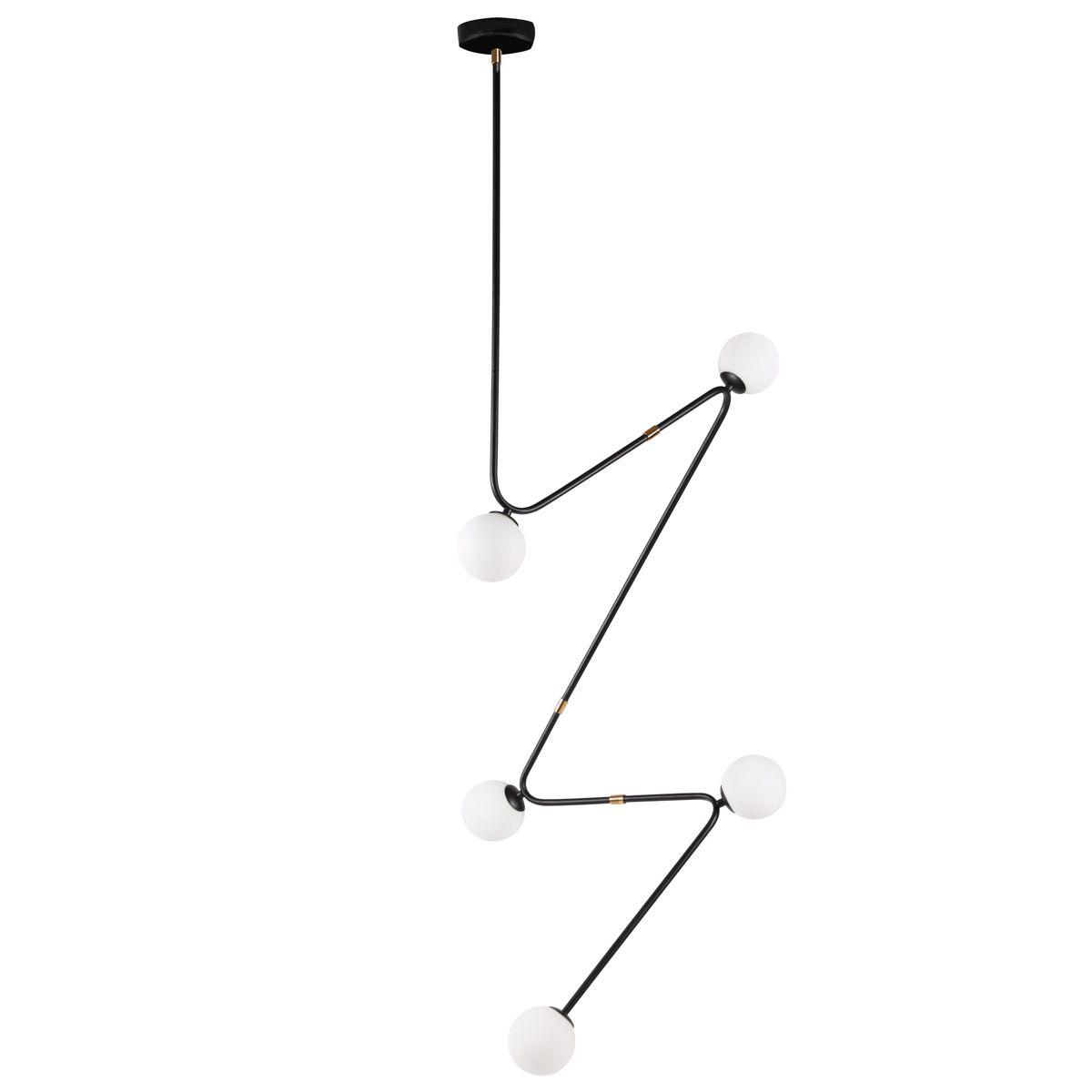 Suspension en fer et verre noir en forme graphique