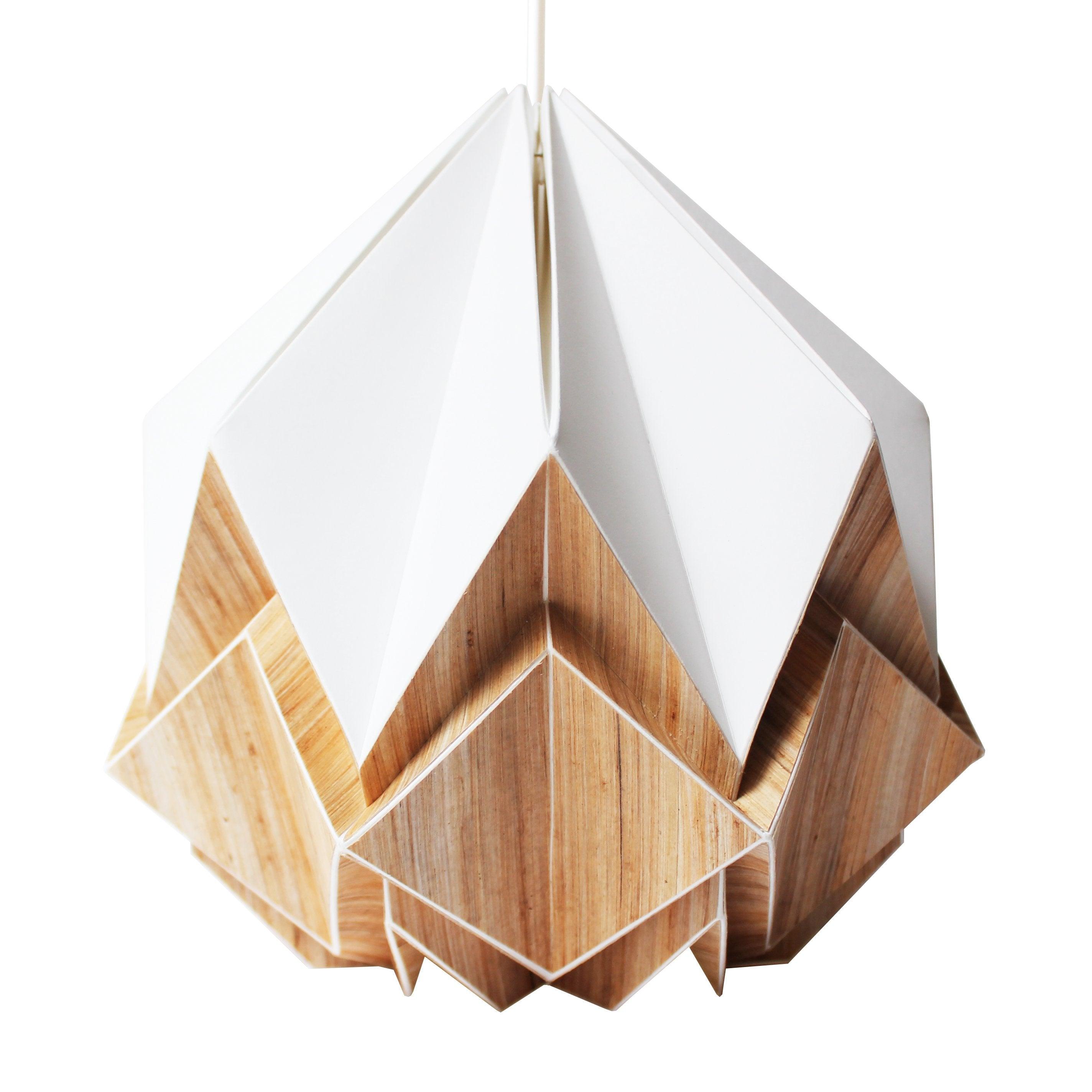 Suspension origami en ecowood et papier blanc taille S