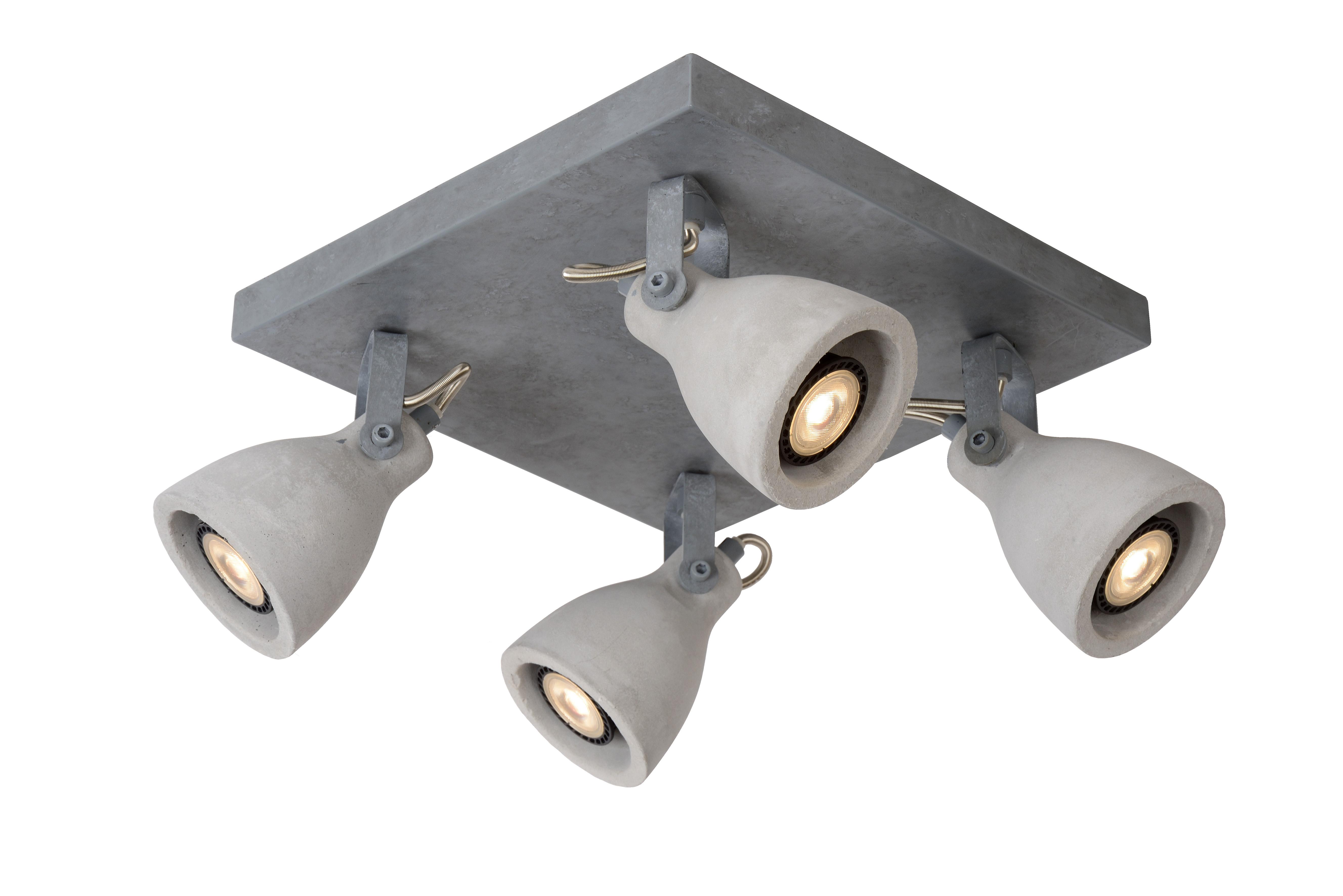 Plafonnier 4 spots orientables béton et métal 30x30cm