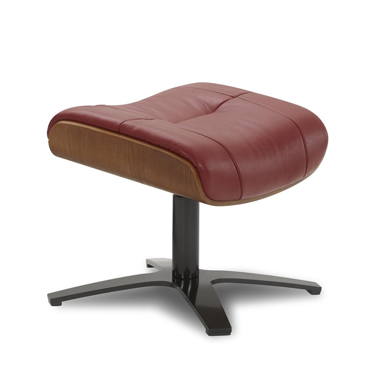 Repose-pieds de relaxation cuir rouge et chêne naturel