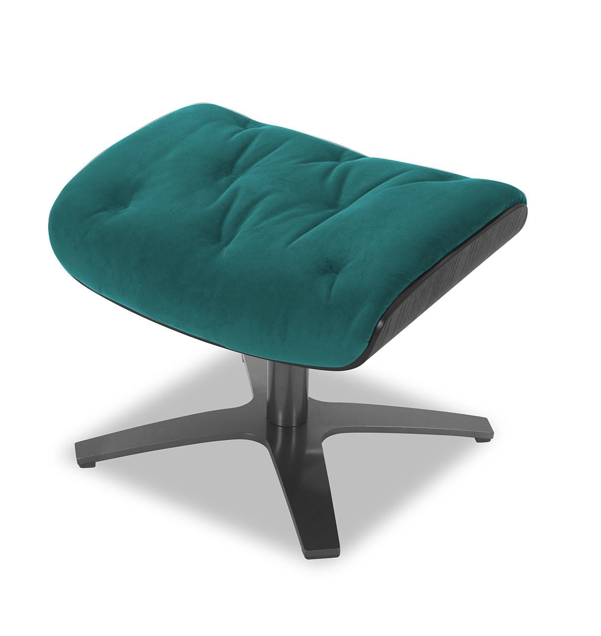 Repose-pieds de relaxation velours bleu-vert et chêne noir