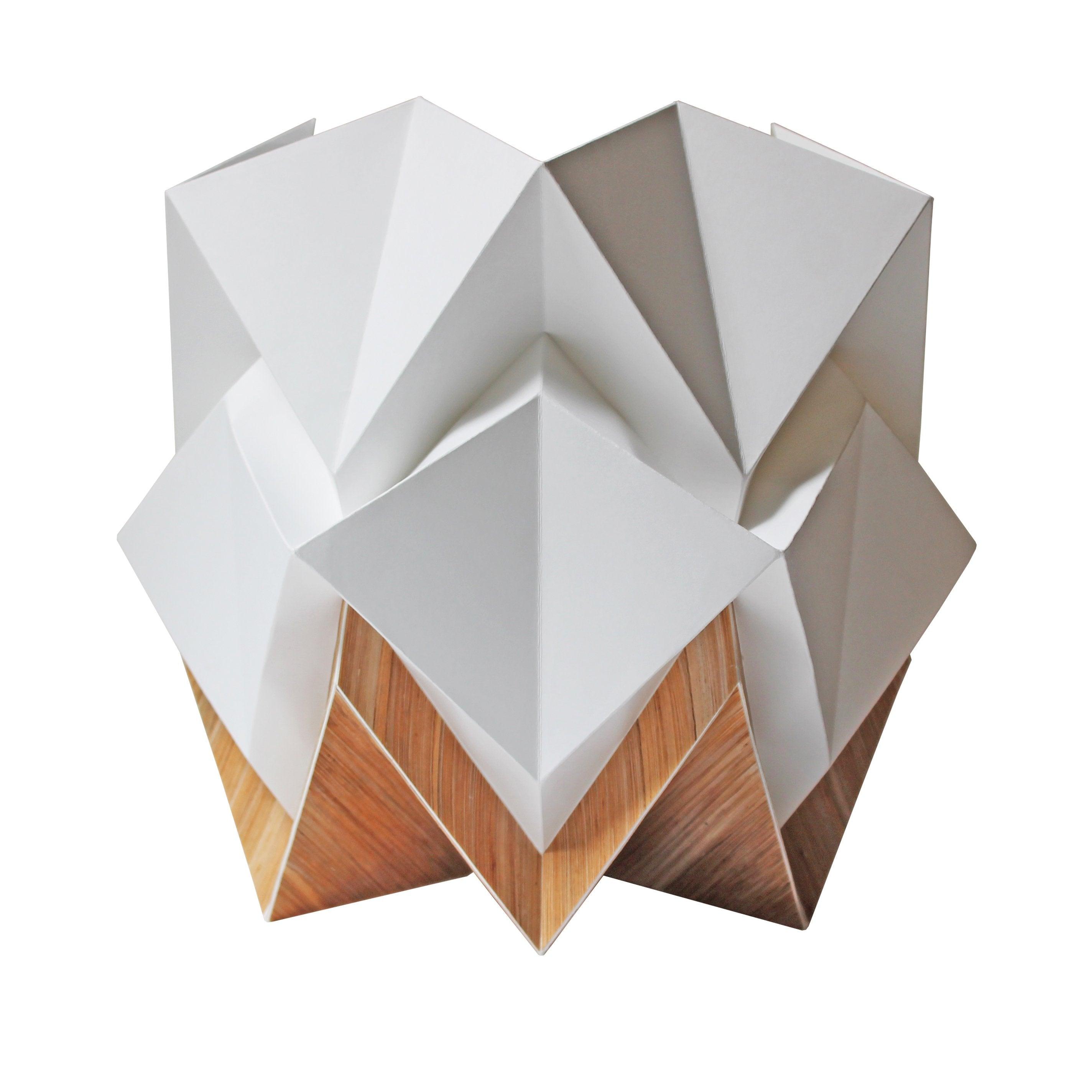 Lampe de table origami ecowood et papier taille M