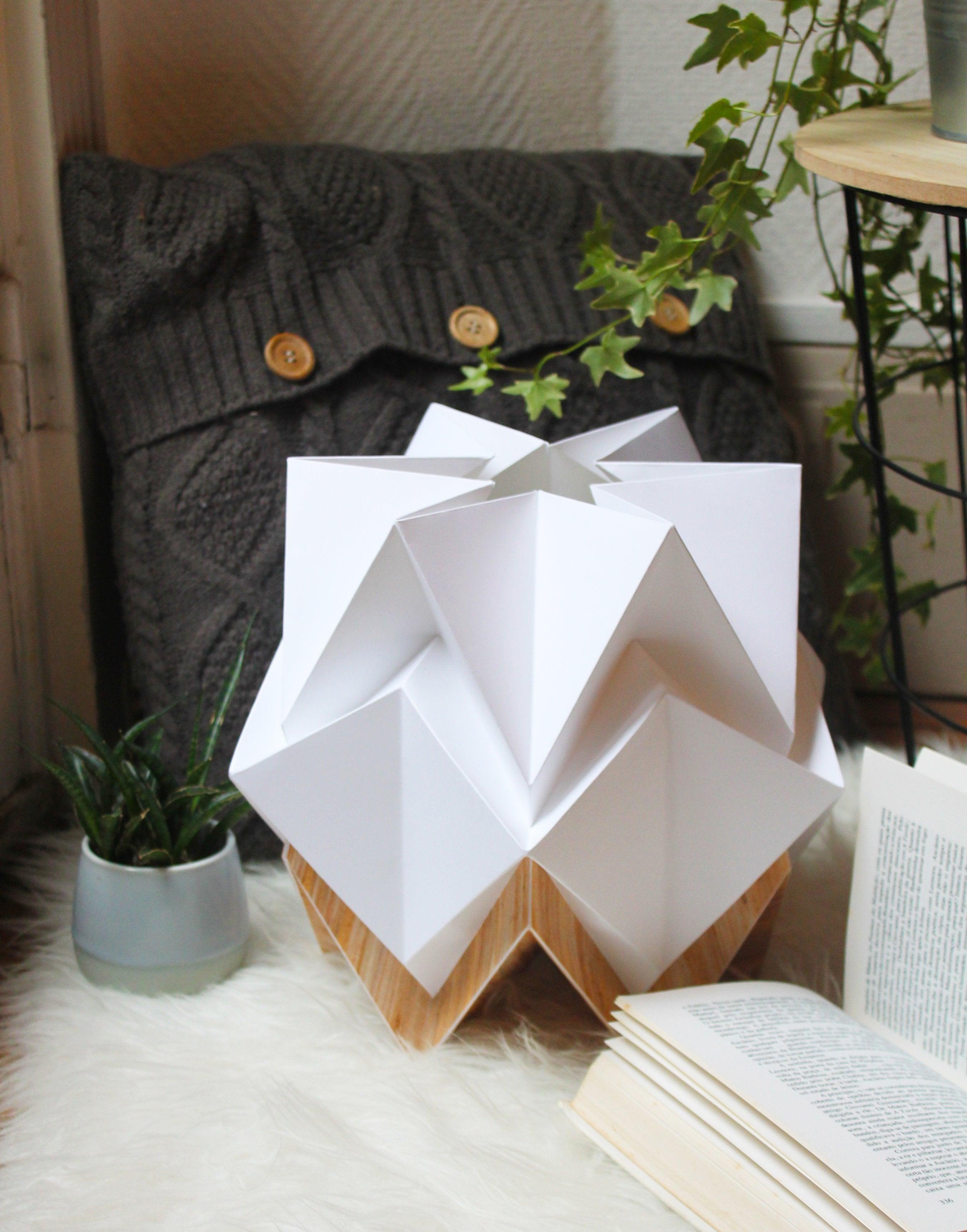 Lampe de table origami ecowood et papier taille S