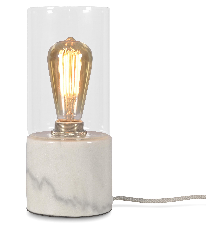 Lampe de table blanche avec verre H25cm