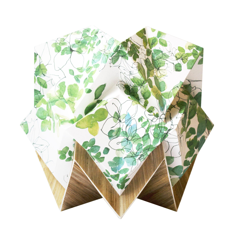Lampe de table origami ecowood et papier printemps taille S